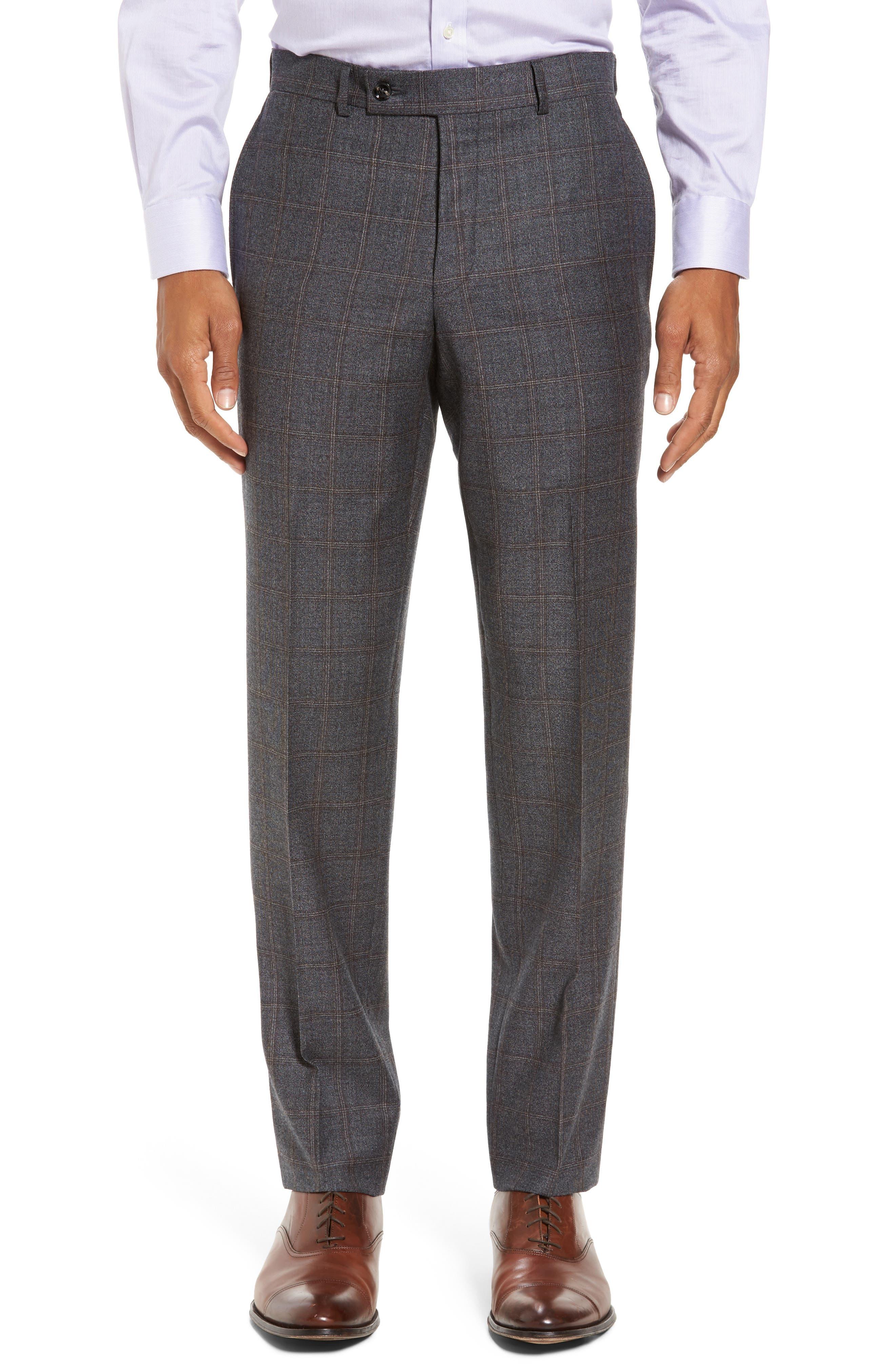 Trim Fit Plaid Wool Suit,                             Alternate thumbnail 6, color,                             Grey