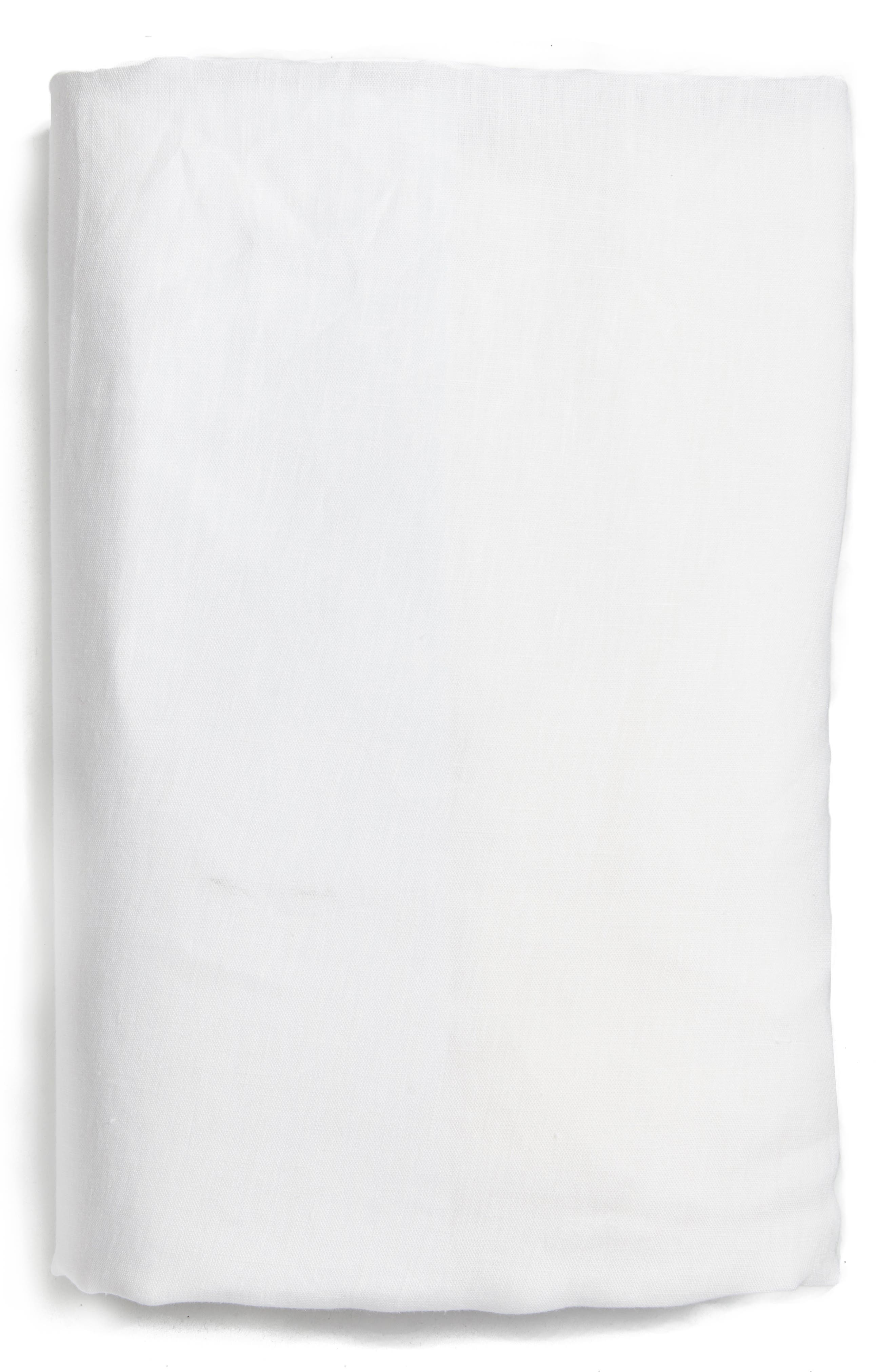 Solo Linen Fitted Sheet,                         Main,                         color, White