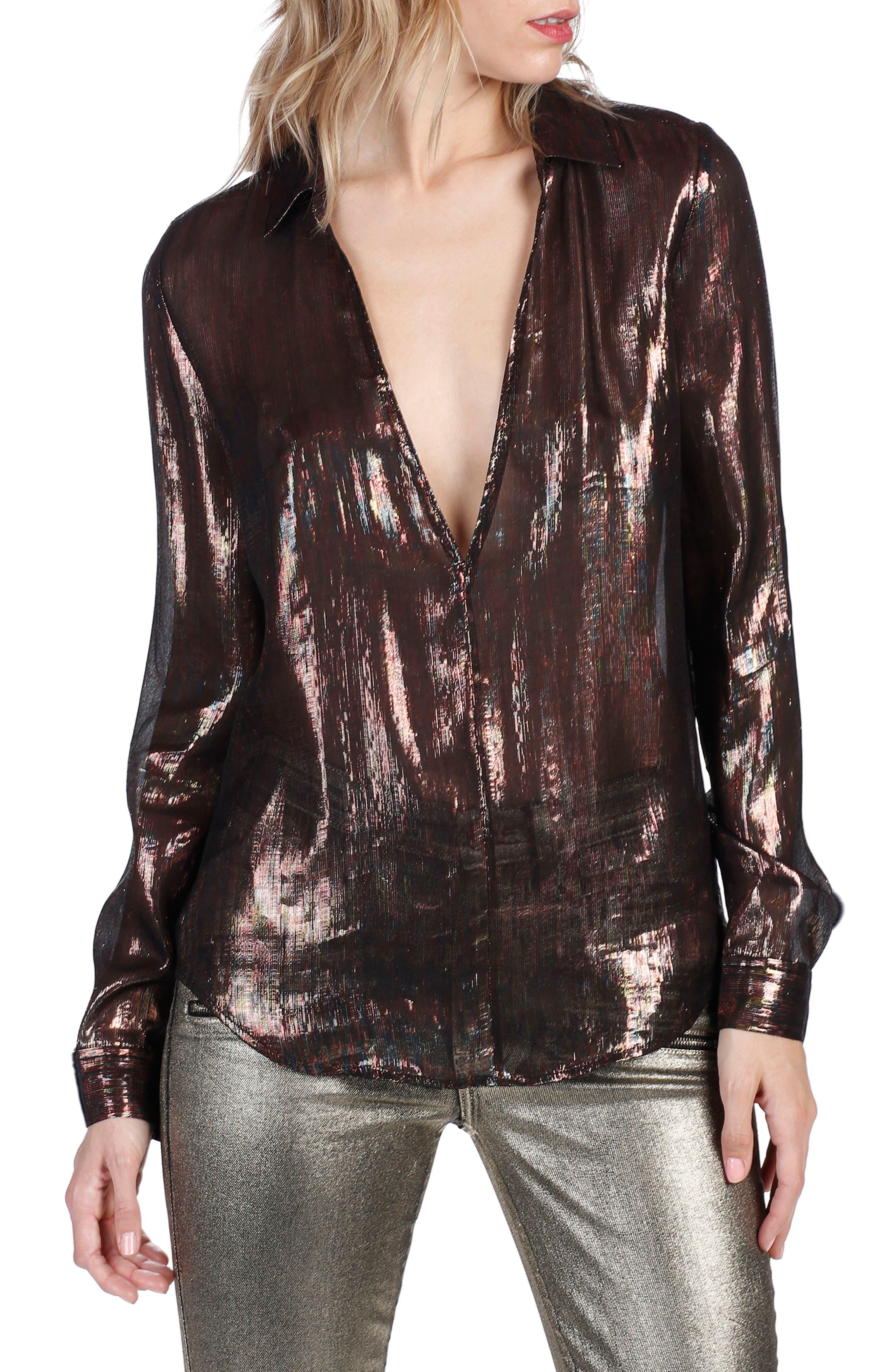Rosie HW x PAIGE Bessy Metallic Silk Blouse