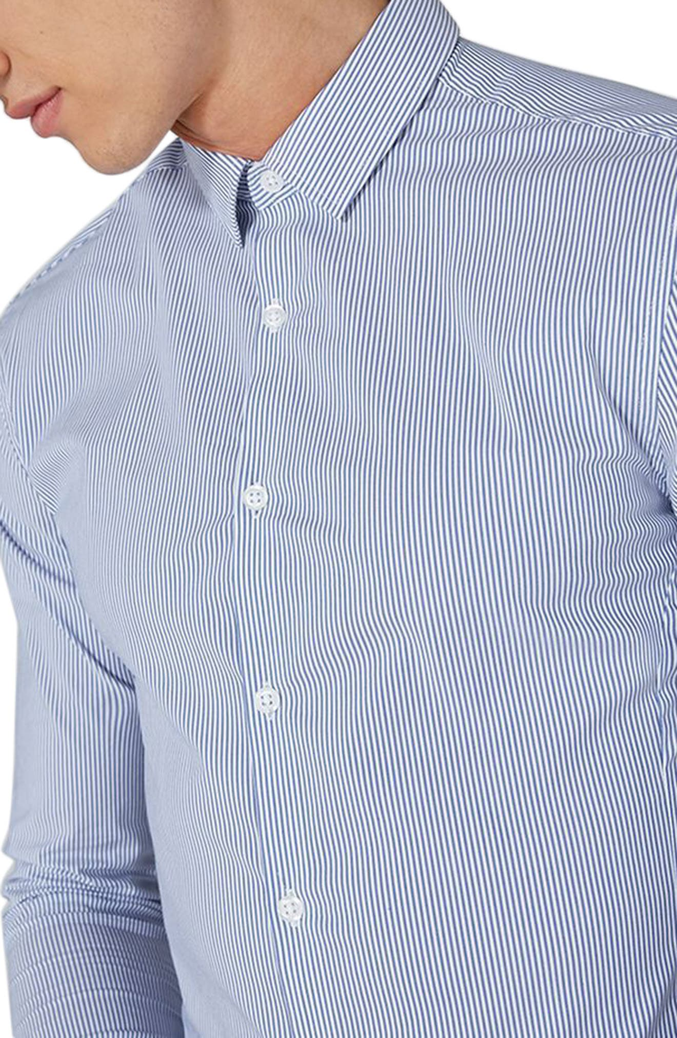Muscle Fit Smart Shirt,                             Alternate thumbnail 2, color,                             Blue Multi