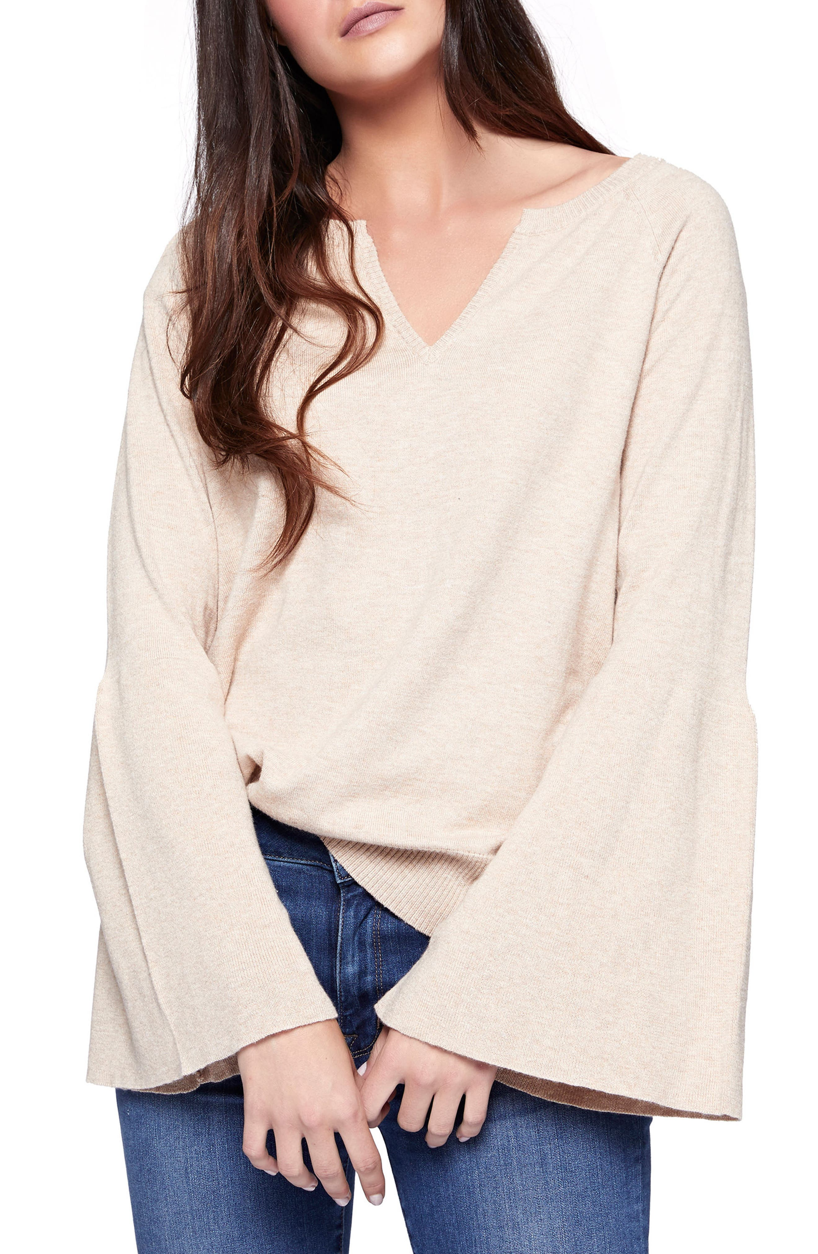 Bell Sleeve Sweater,                             Main thumbnail 1, color,                             Heather Praline