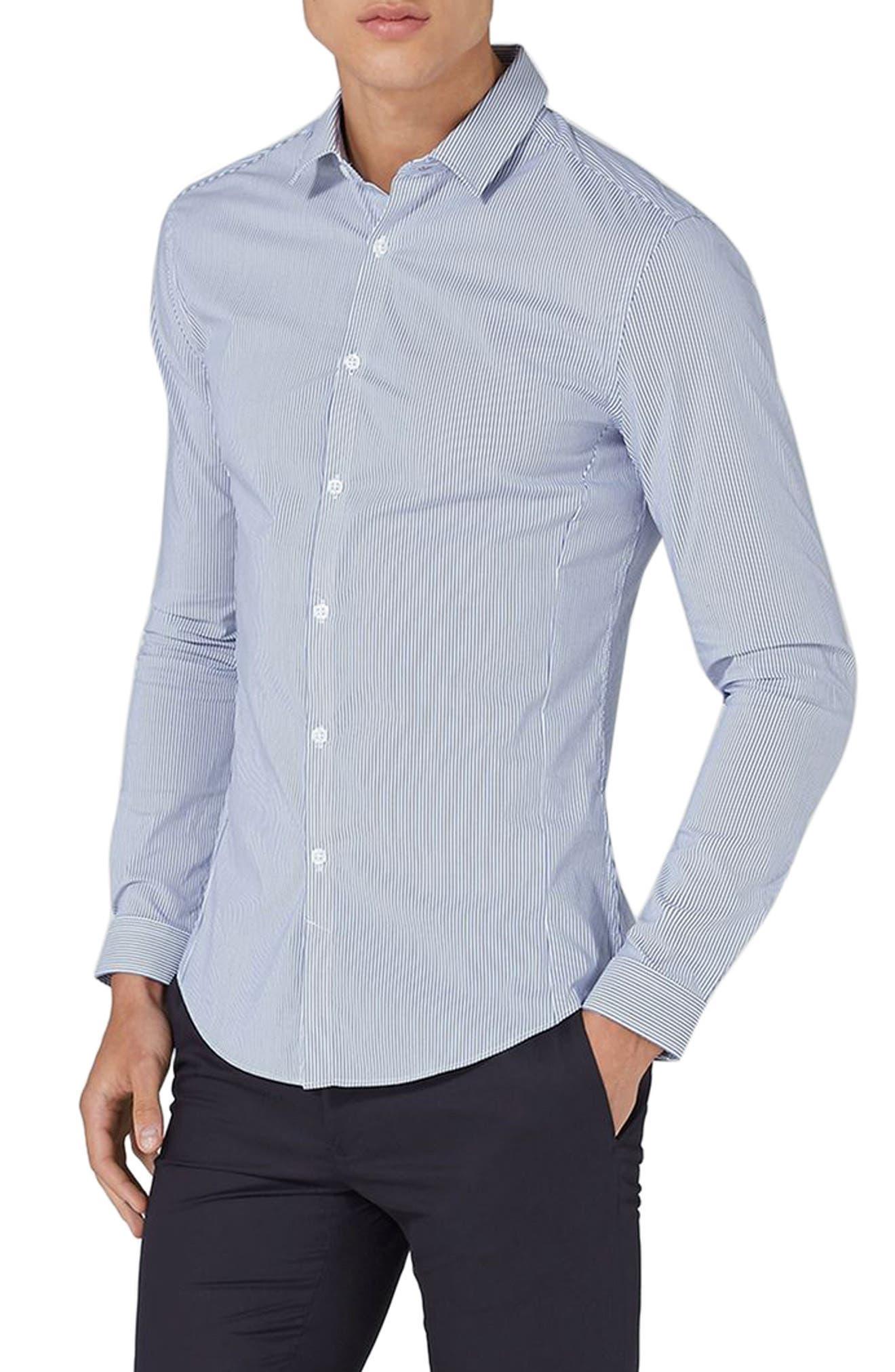 Muscle Fit Smart Shirt,                         Main,                         color, Blue Multi