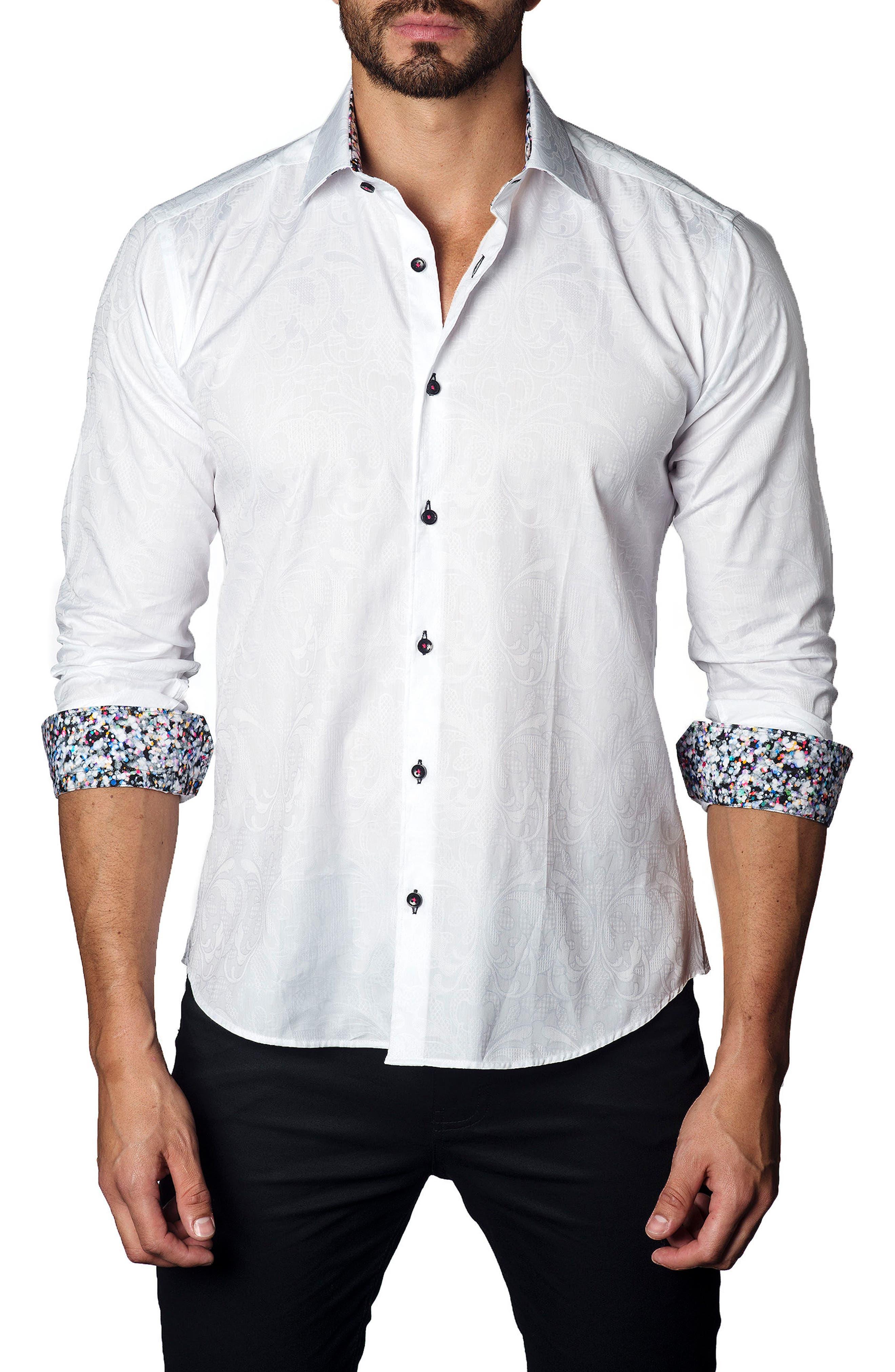 Trim Fit Jacquard Sport Shirt,                             Main thumbnail 1, color,                             White Jacquard