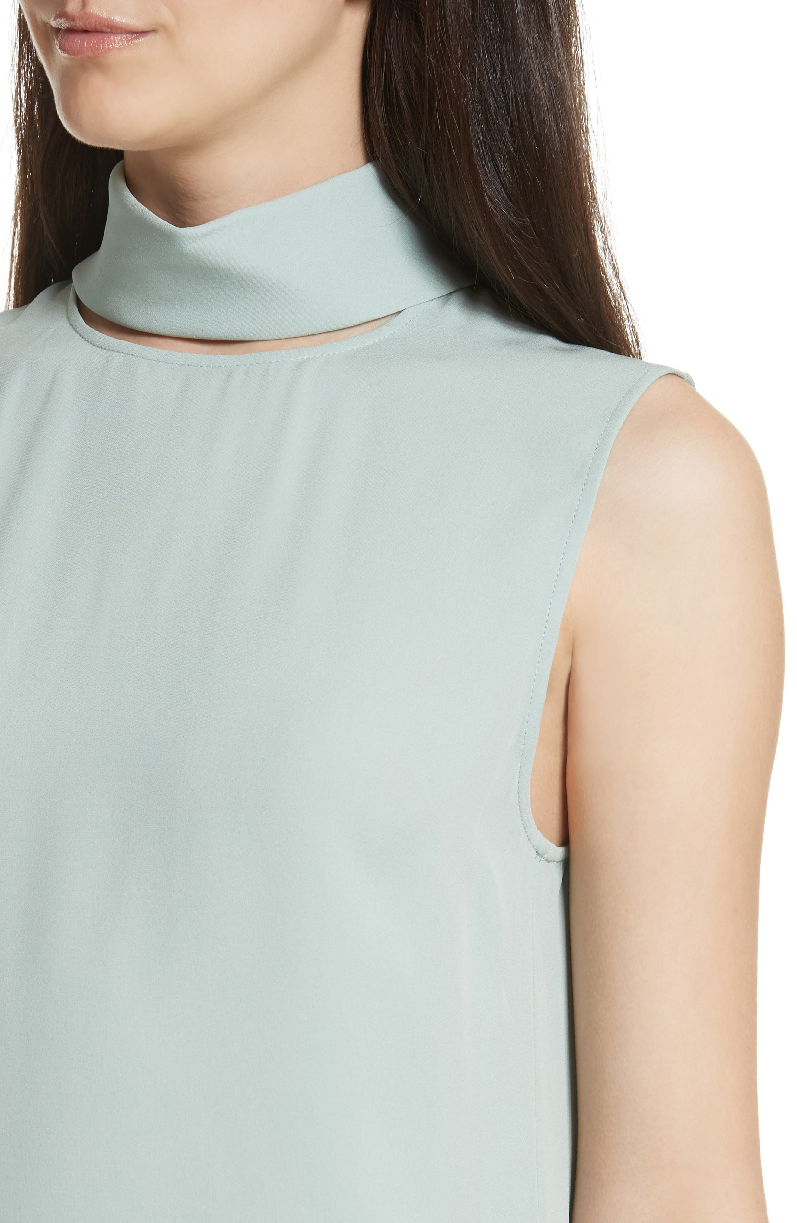 Classic Slit Collar Silk Top,                             Alternate thumbnail 4, color,                             Winter Green