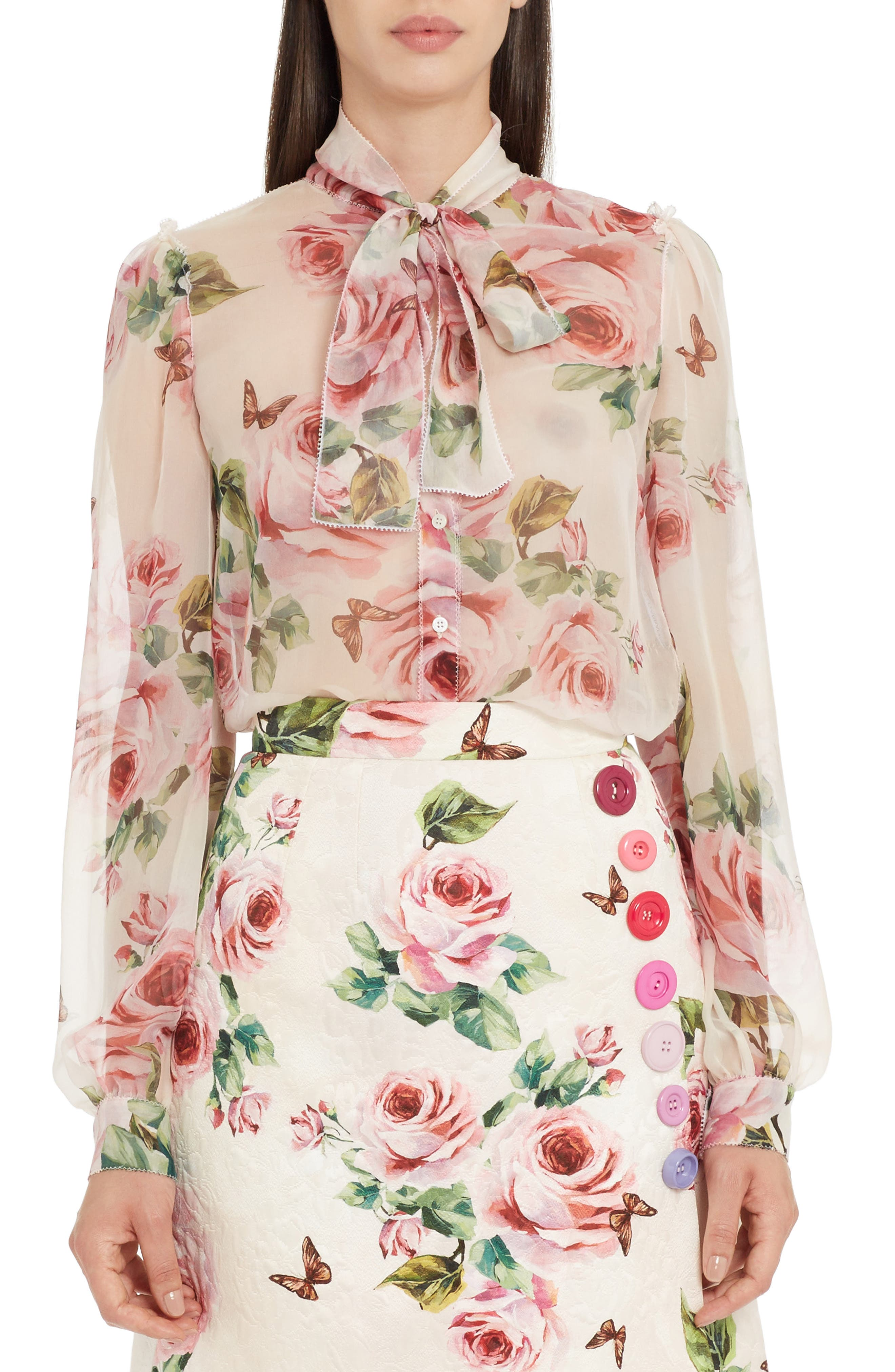 Dolce&Gabbana Sheer Rose Print Silk Blouse