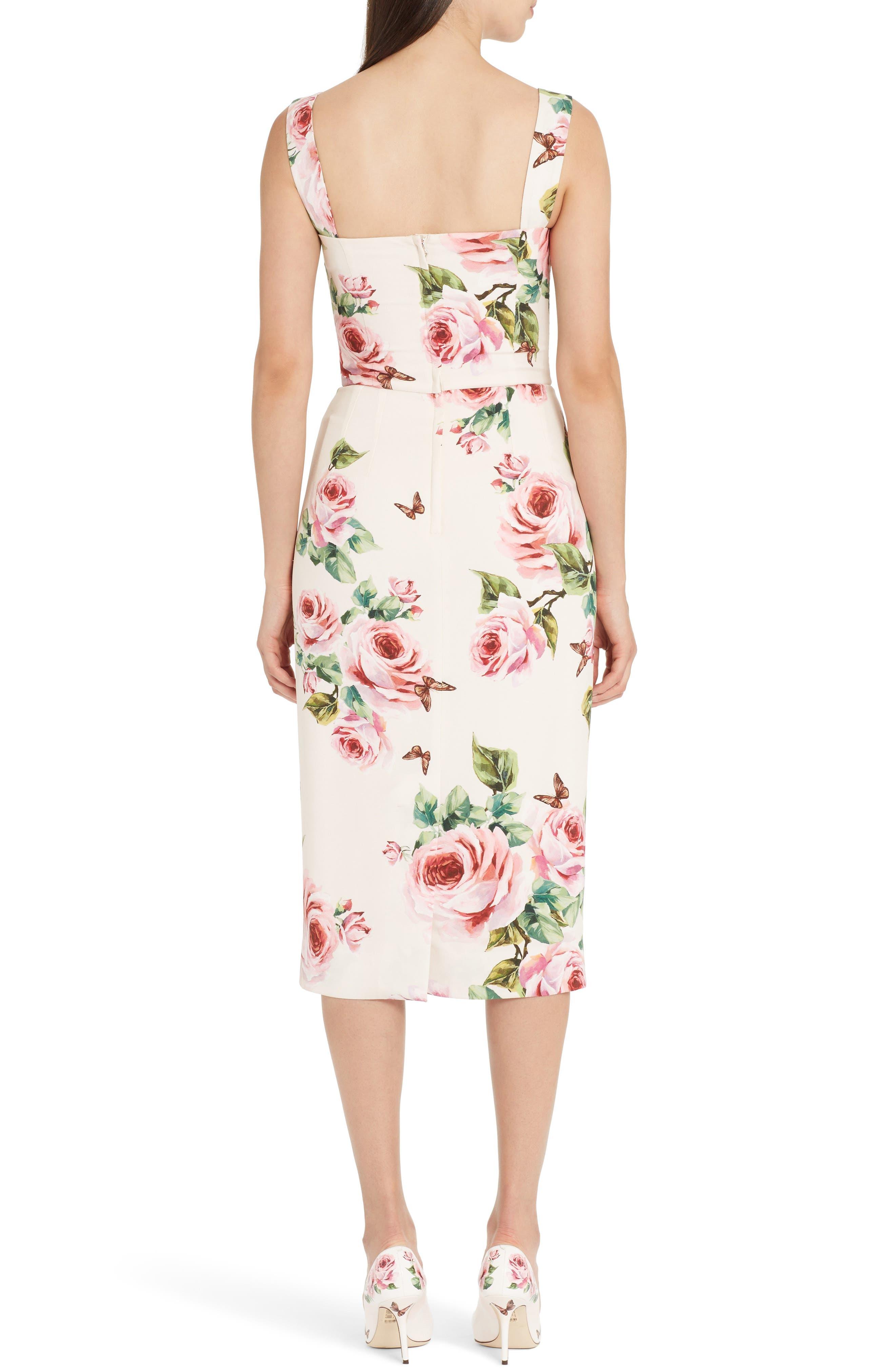 Rose Print Stretch Cady Sheath Dress,                             Alternate thumbnail 2, color,                             Pink