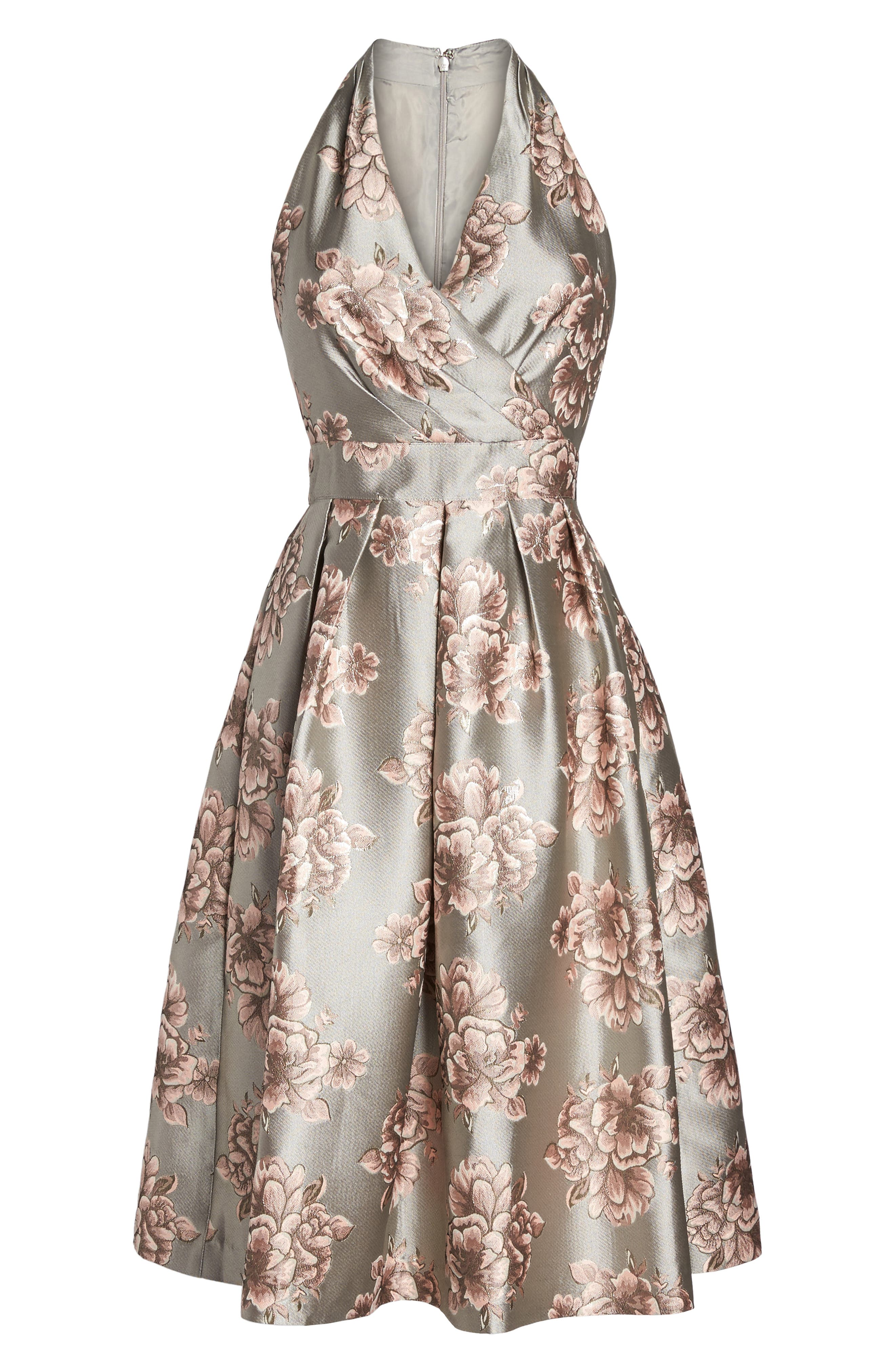 Metallic Floral Fit & Flare Dress,                             Alternate thumbnail 6, color,                             Silver/ Blush