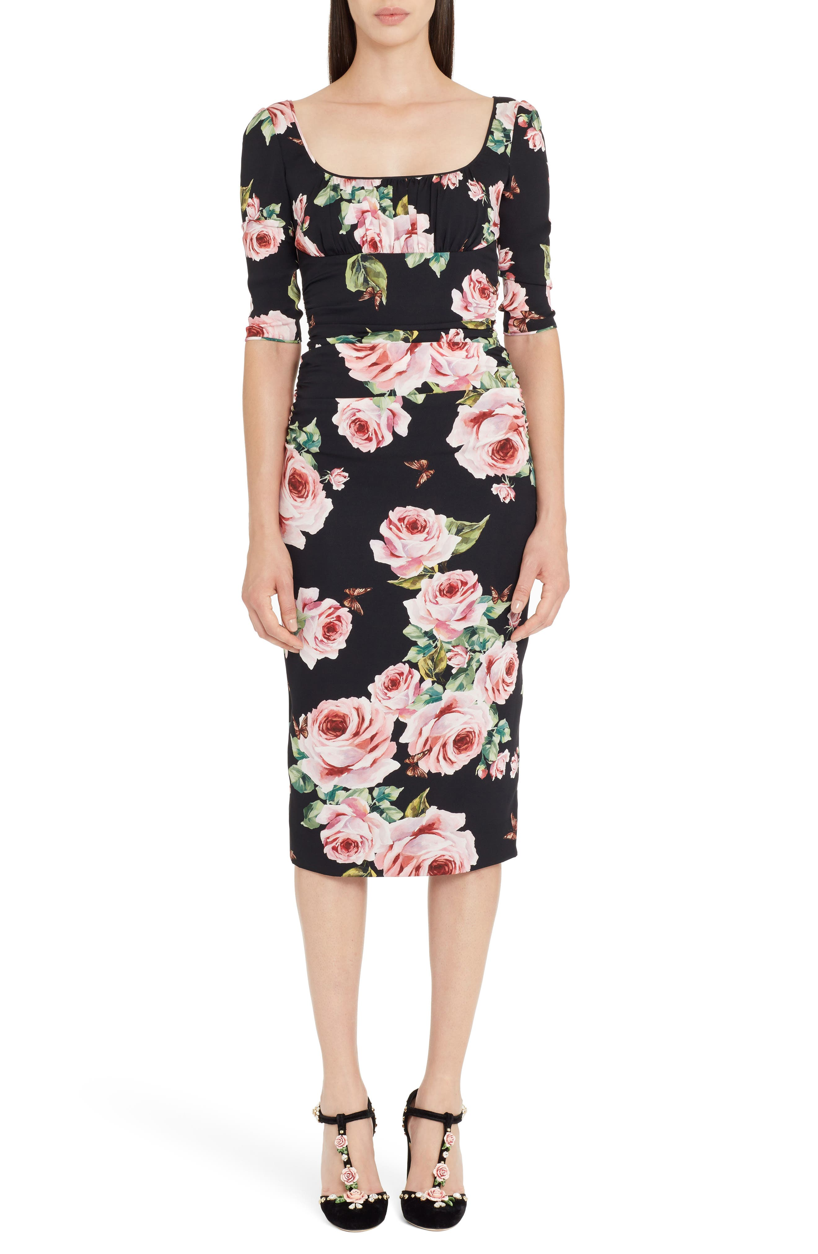 Main Image - Dolce&Gabbana Rose Print Stretch Silk Dress