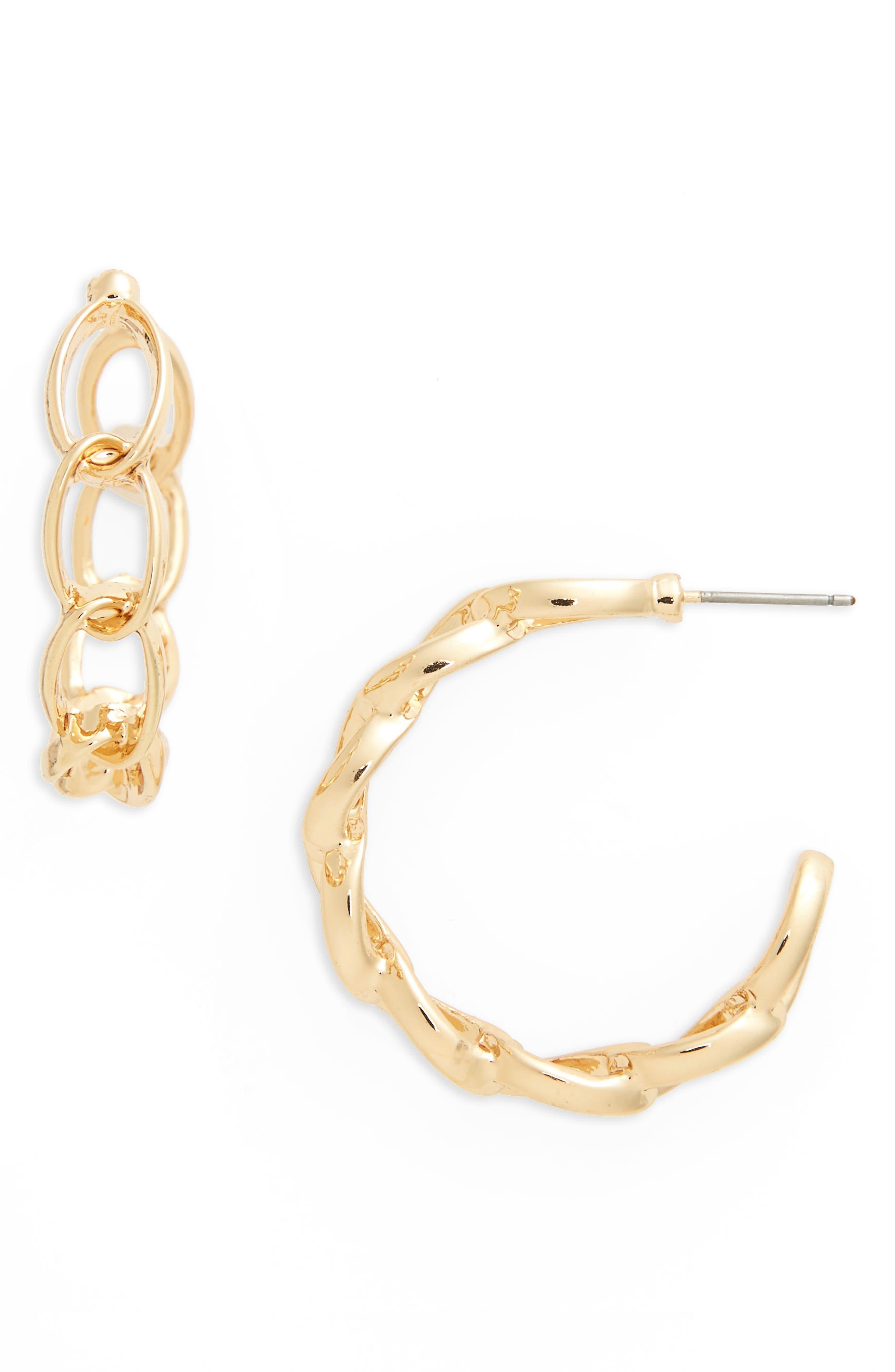 Chain Link Hoop Earrings,                         Main,                         color, Gold