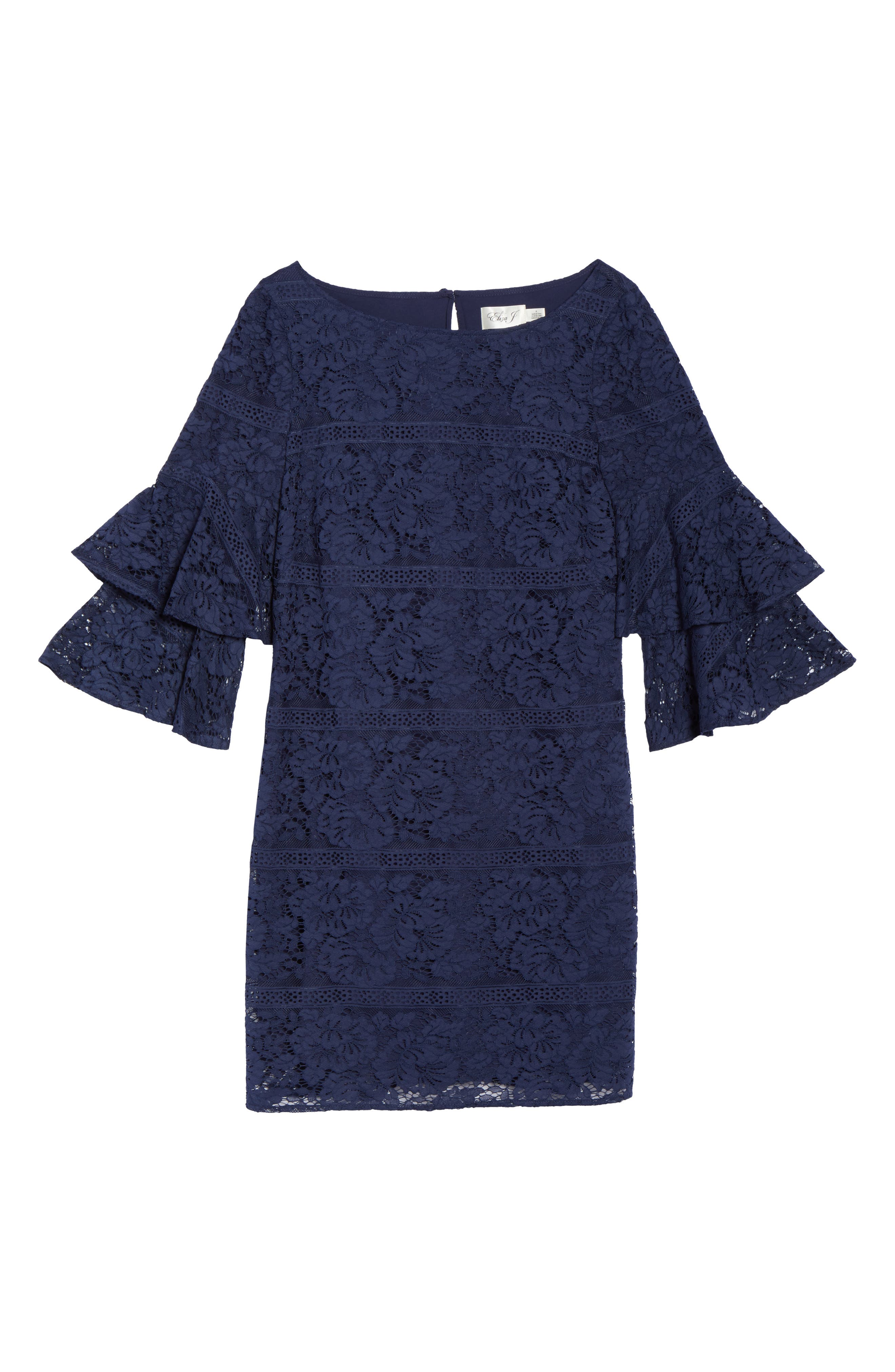 Tiered Sleeve Lace Shift Dress,                             Alternate thumbnail 6, color,                             Navy