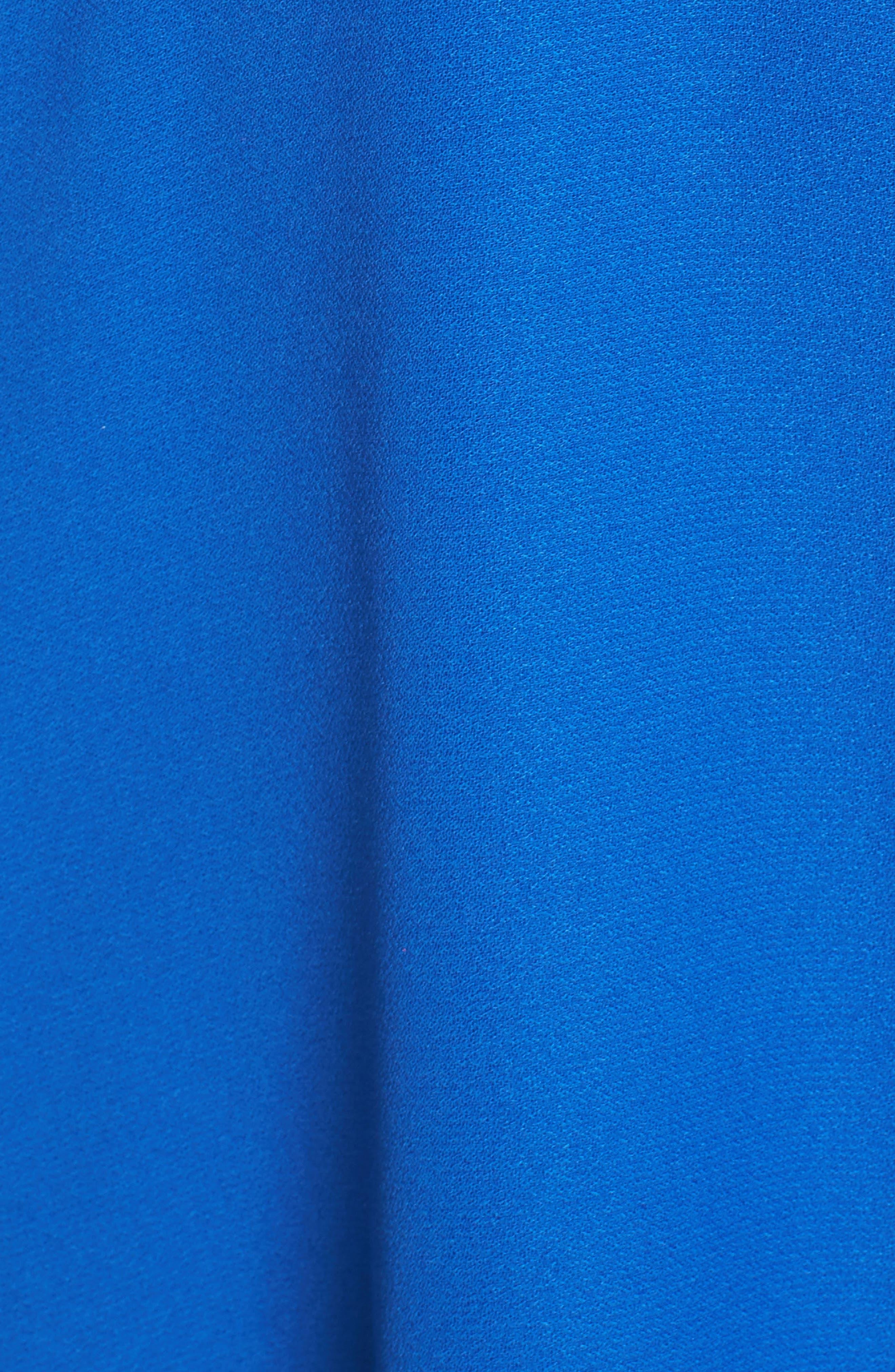Crepe Skater Dress,                             Alternate thumbnail 5, color,                             Cobalt