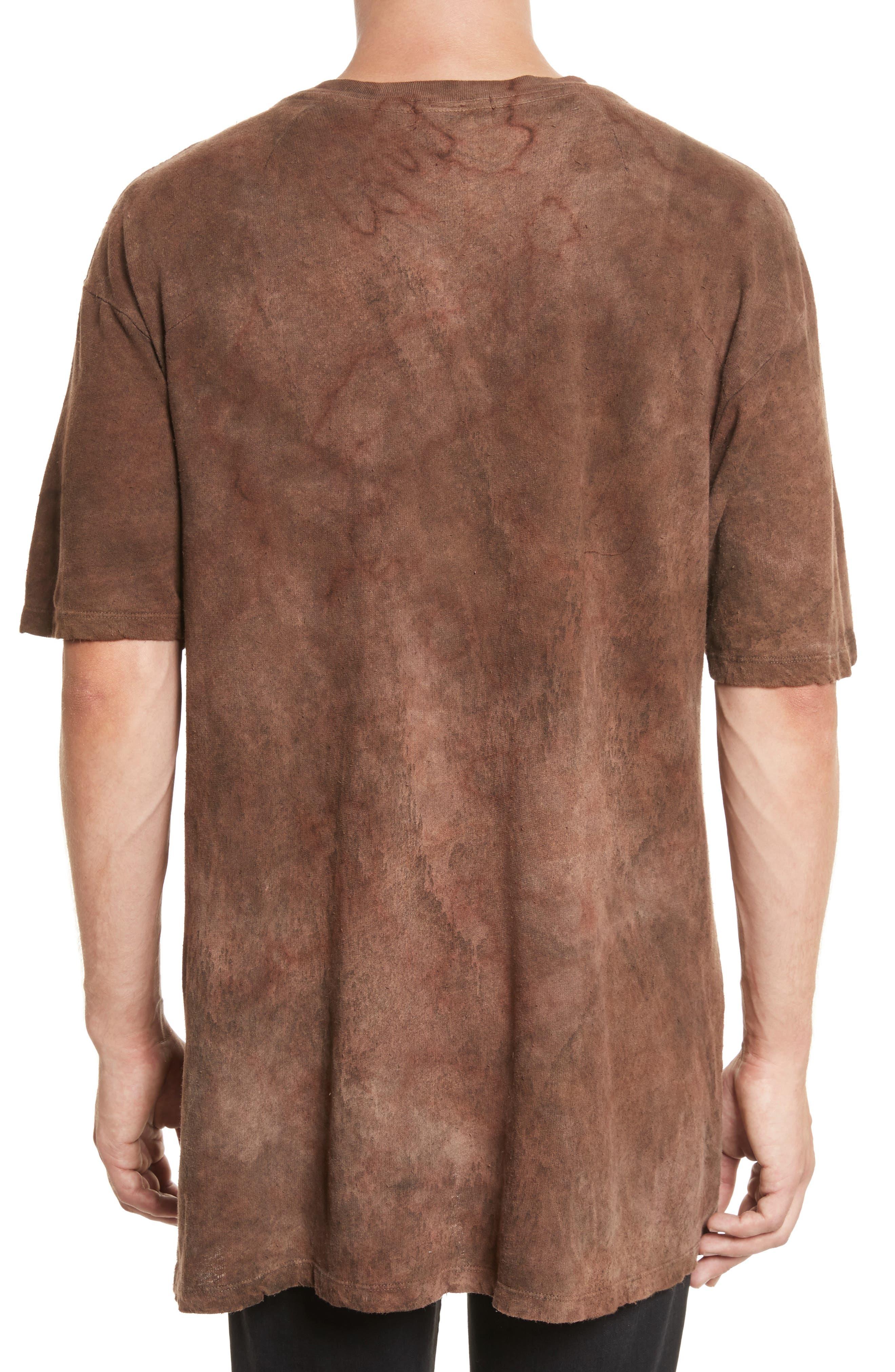 Granite Tie Dye Linen Blend T-Shirt,                             Alternate thumbnail 2, color,                             Sephia Rain