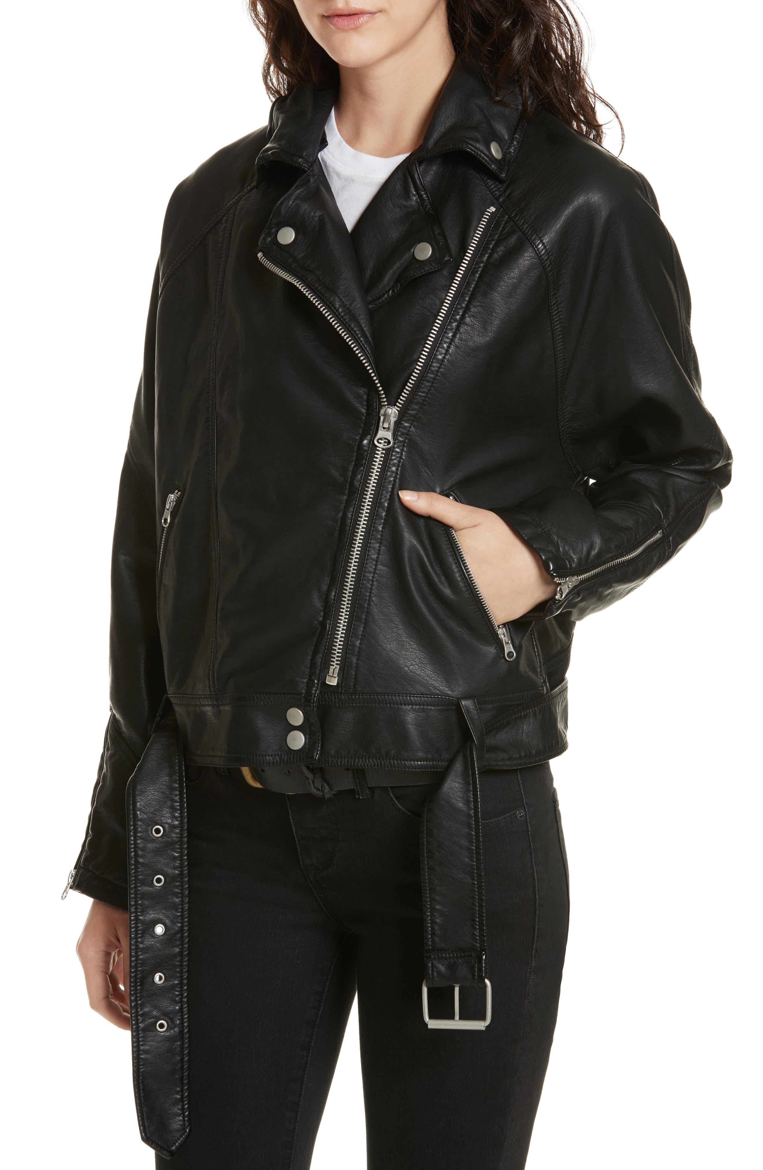 Drapey Faux Leather Moto Jacket,                             Alternate thumbnail 4, color,                             Black