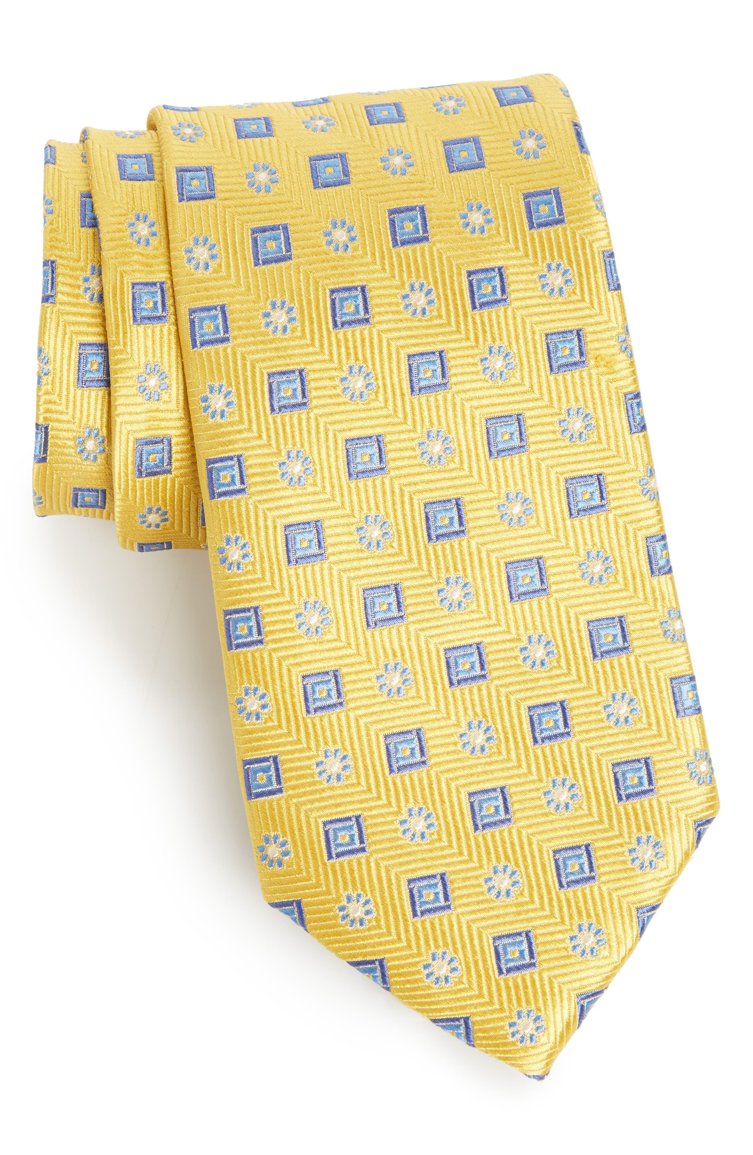 Medallion Silk Tie,                         Main,                         color, Gold