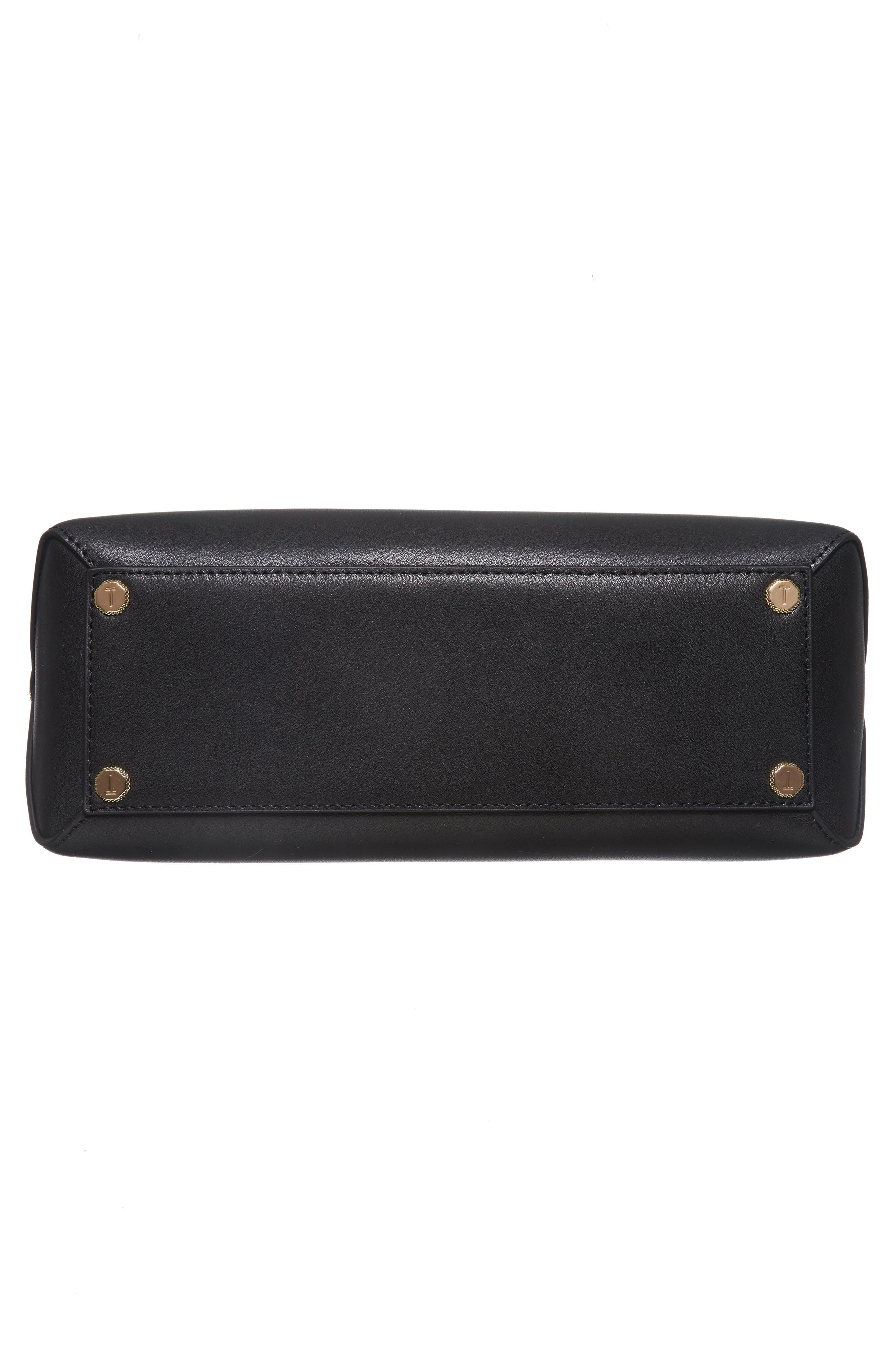 Taymar - Studded Edge Lady Bag Leather Top Handle Satchel,                             Alternate thumbnail 5, color,                             Black