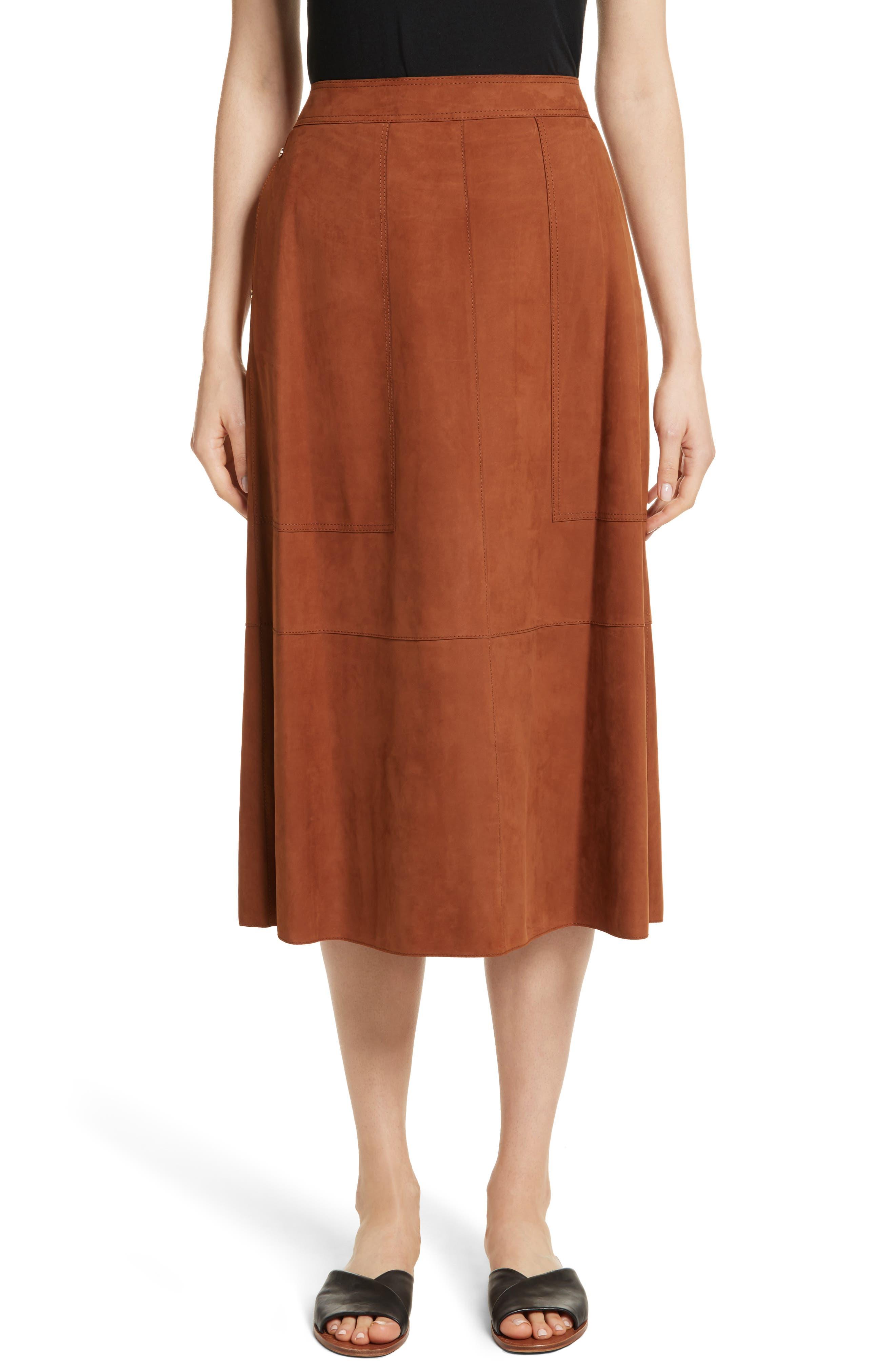 Rosella Leather Skirt,                         Main,                         color, Saddle