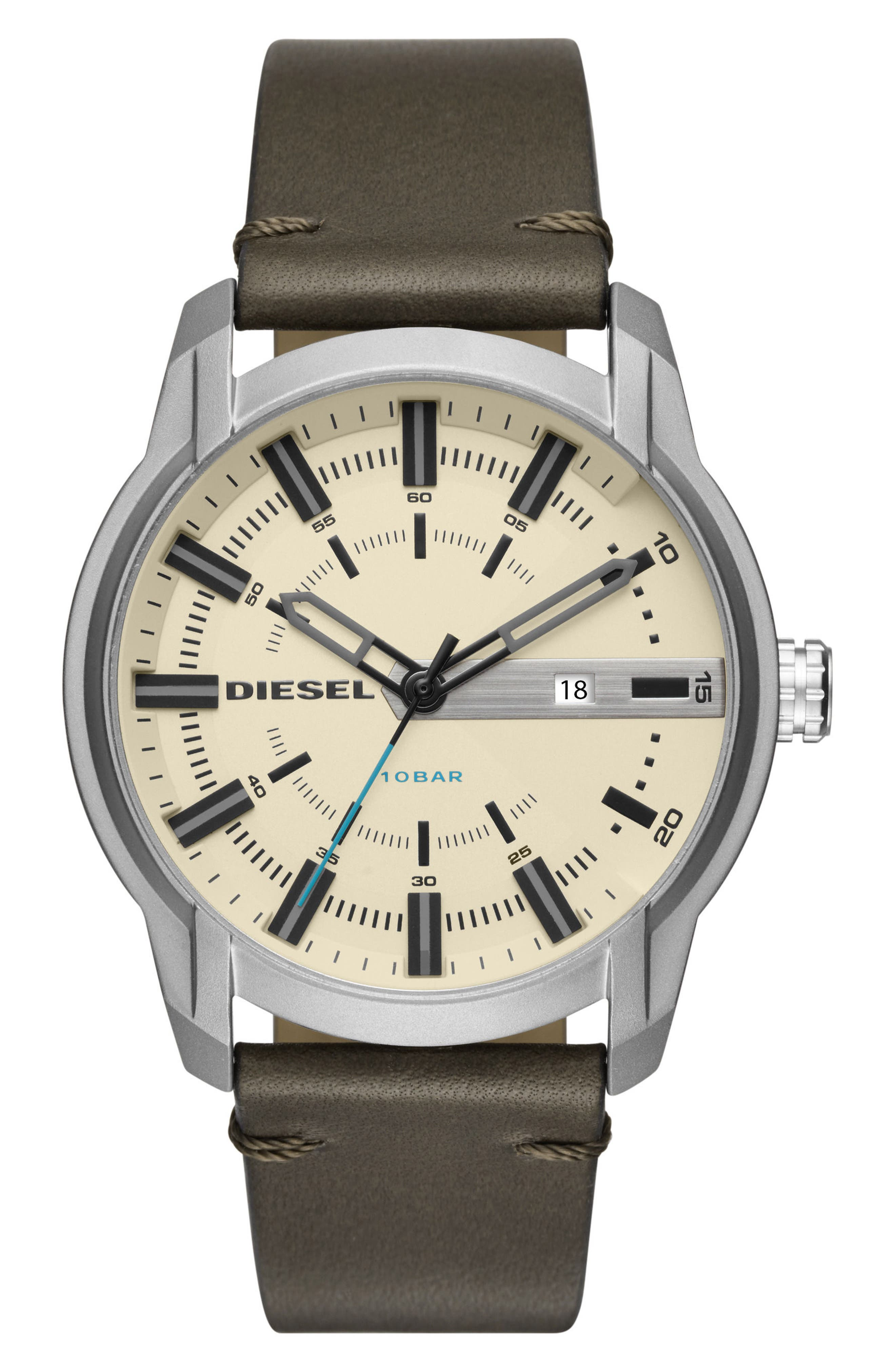Main Image - DIESEL® Armbar Leather Strap Watch, 45mm x 50mm