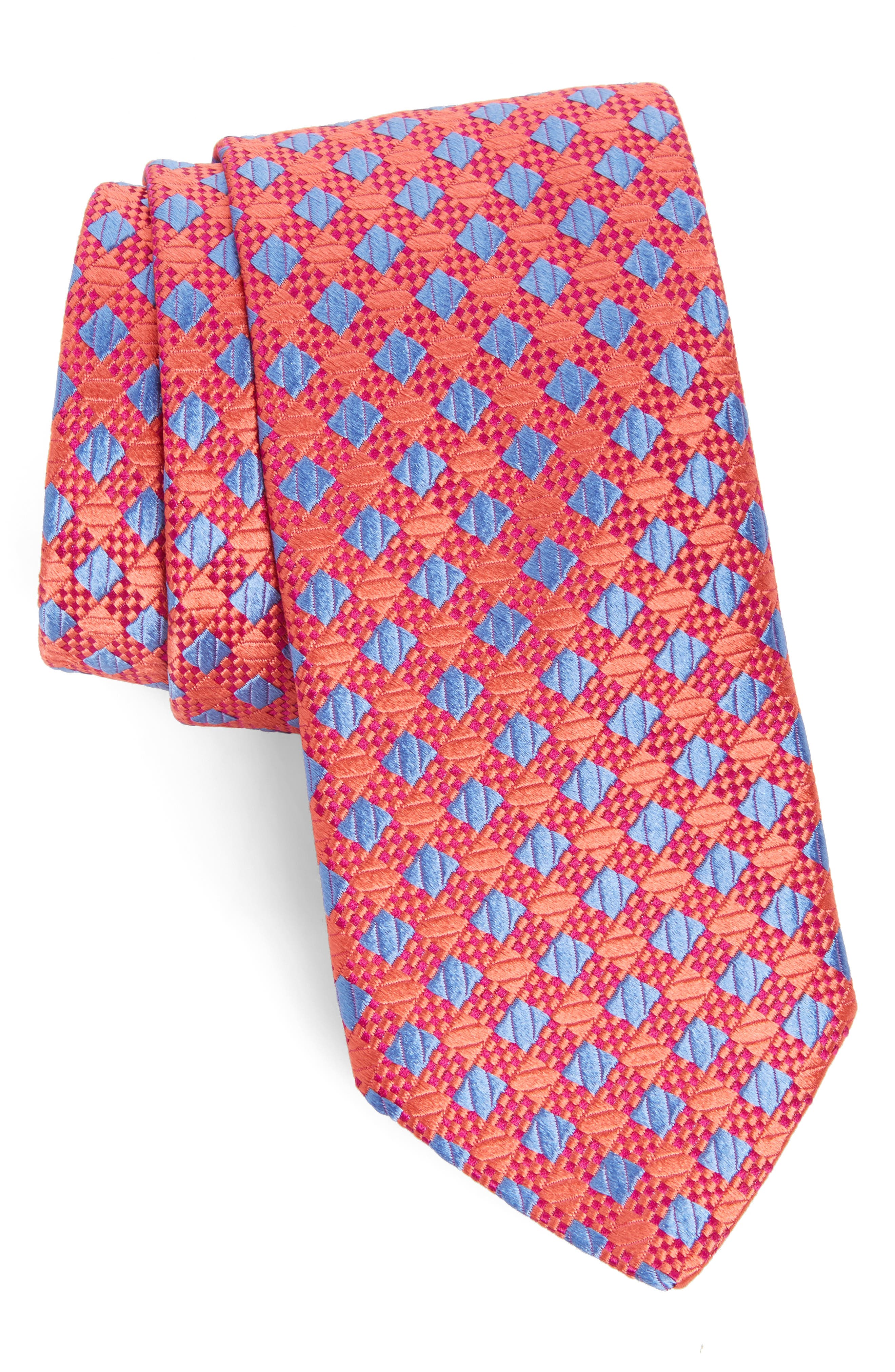 Ford Check Silk Tie,                         Main,                         color, Coral