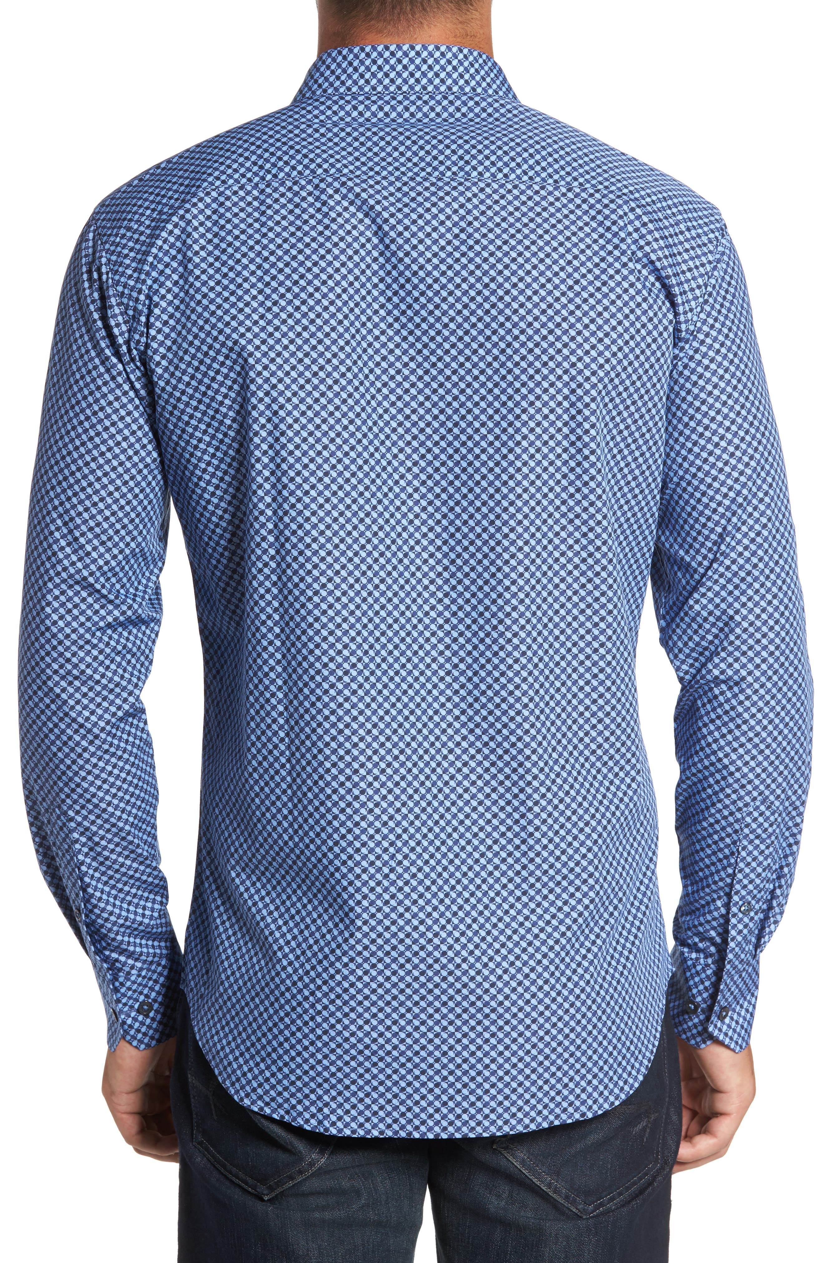 Trim Fit Dot Print Sport Shirt,                             Alternate thumbnail 2, color,                             Classic Blue