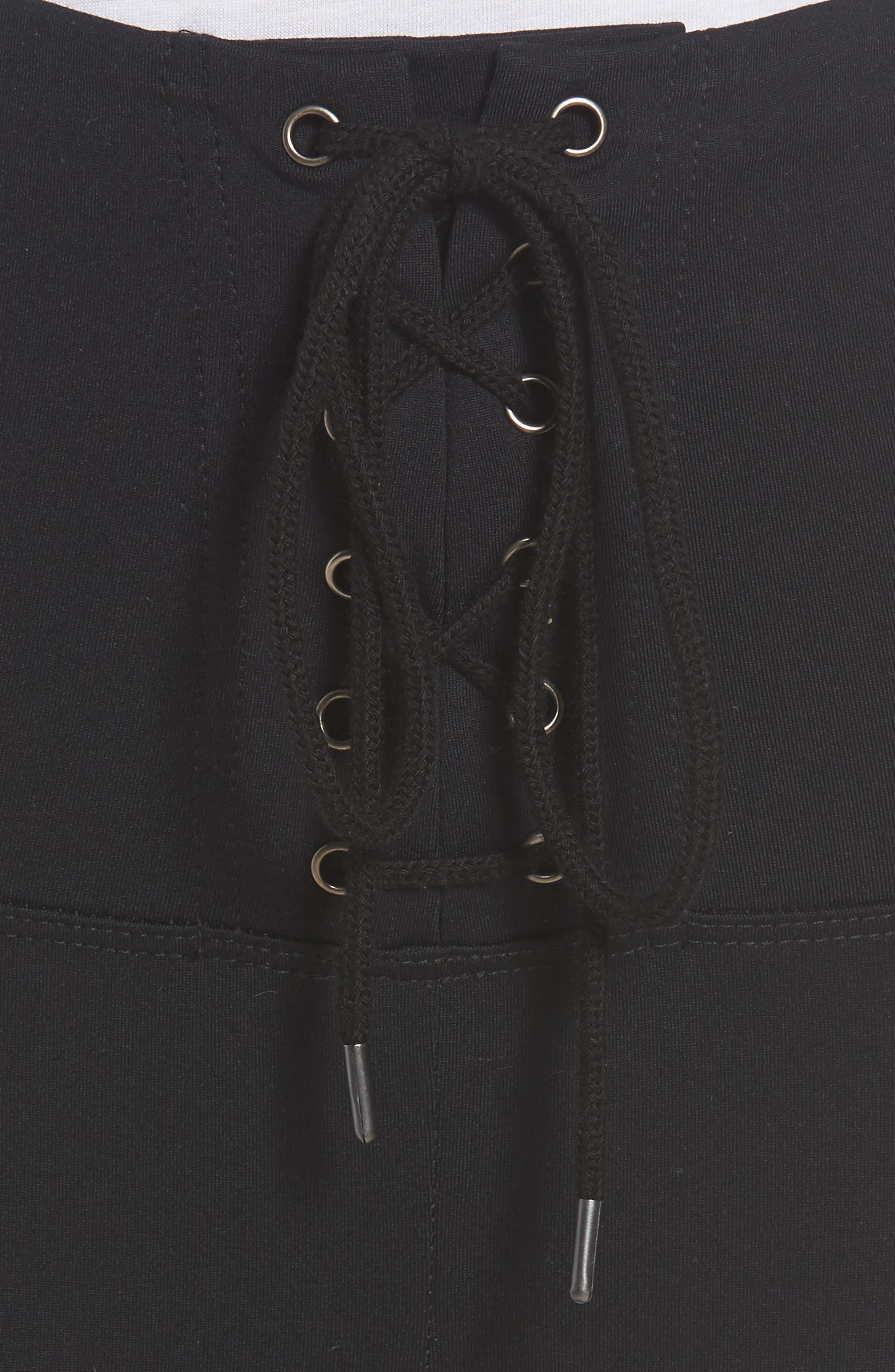 Corset Tie Ankle Leggings,                             Alternate thumbnail 4, color,                             Grey