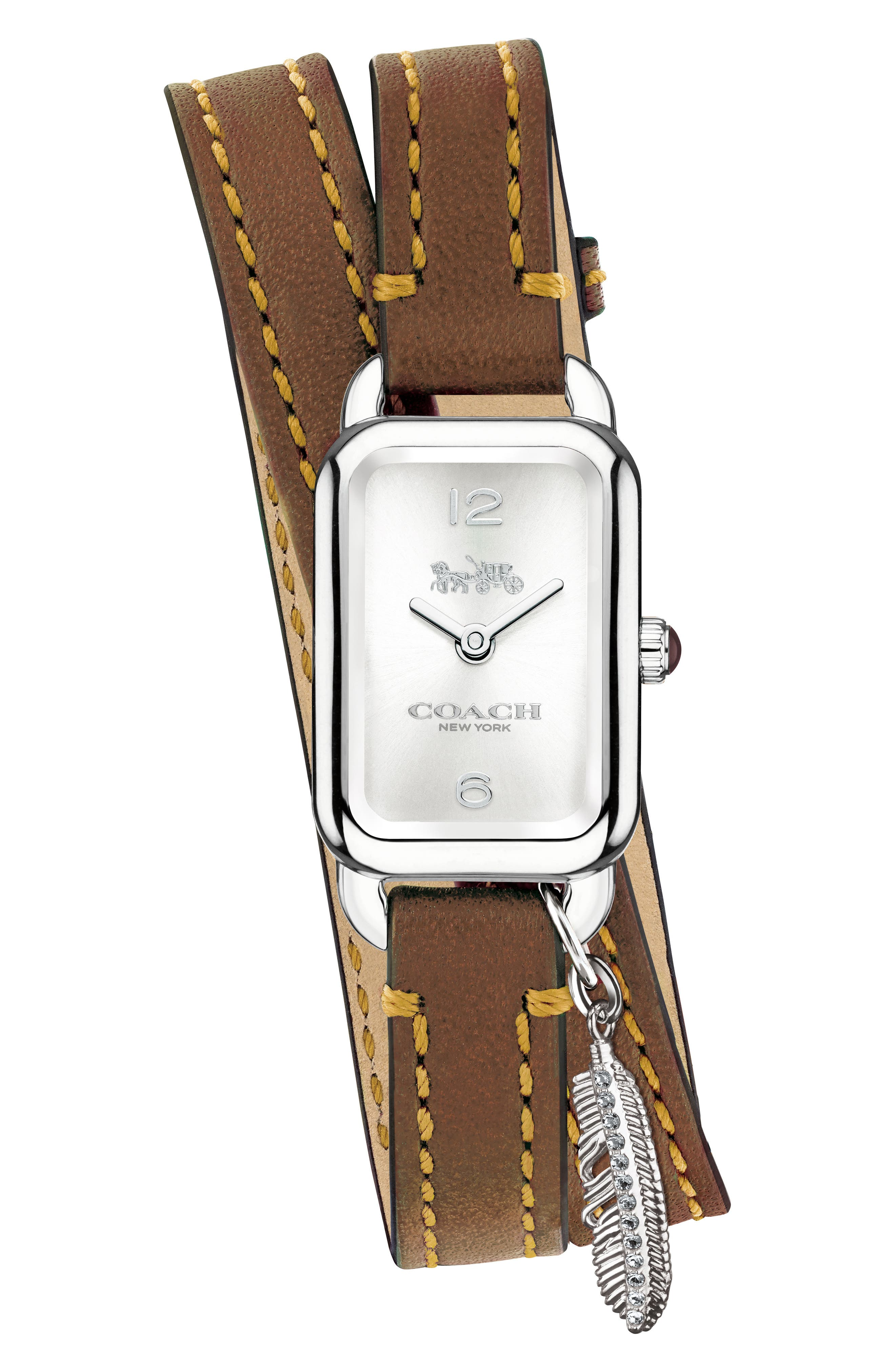 Ludlow Double Wrap Leather Strap Watch, 17mm x 24mm,                         Main,                         color, Brown/ Silver