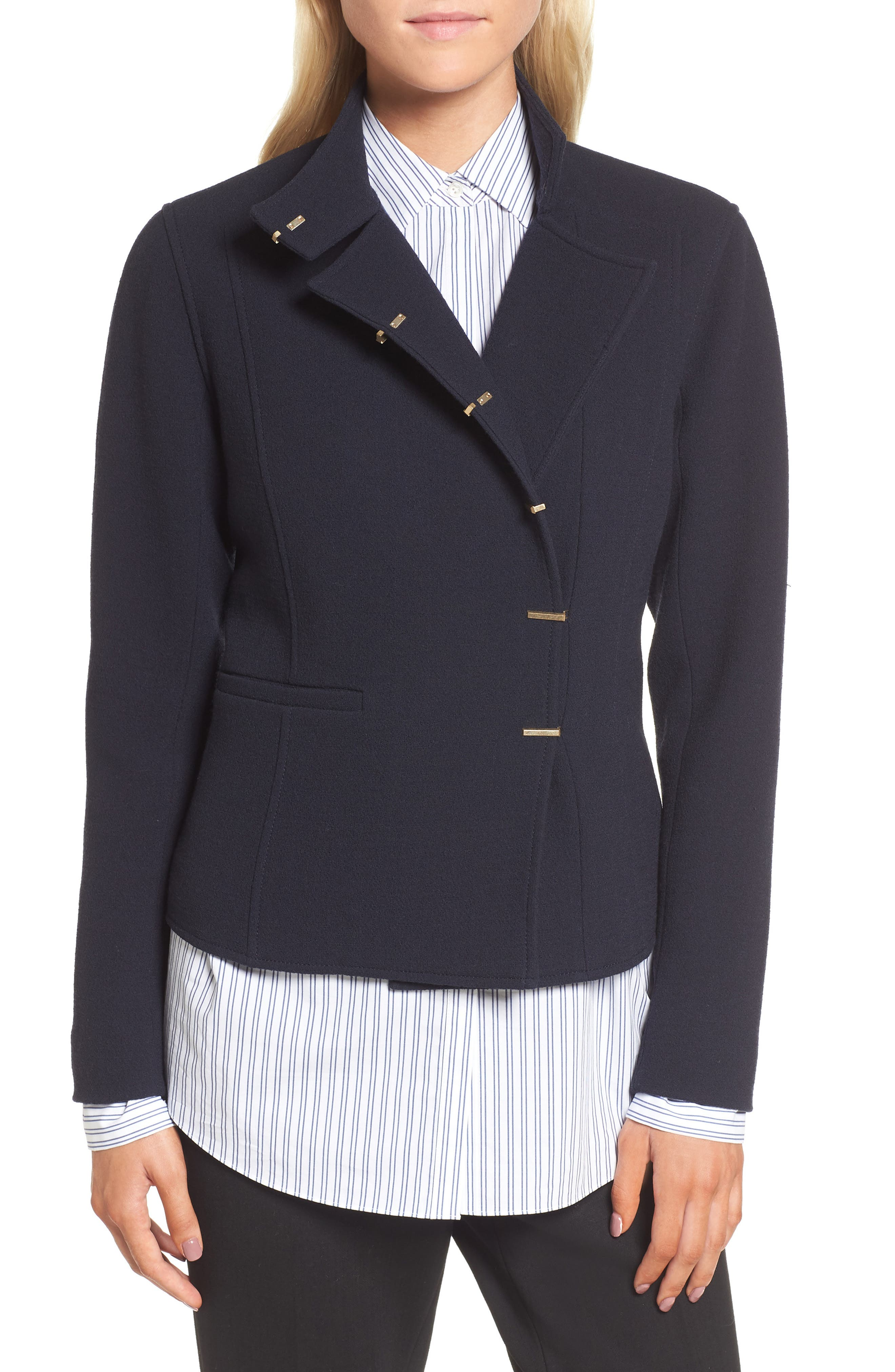 Fitted Wool Jacket,                         Main,                         color, Navy Night