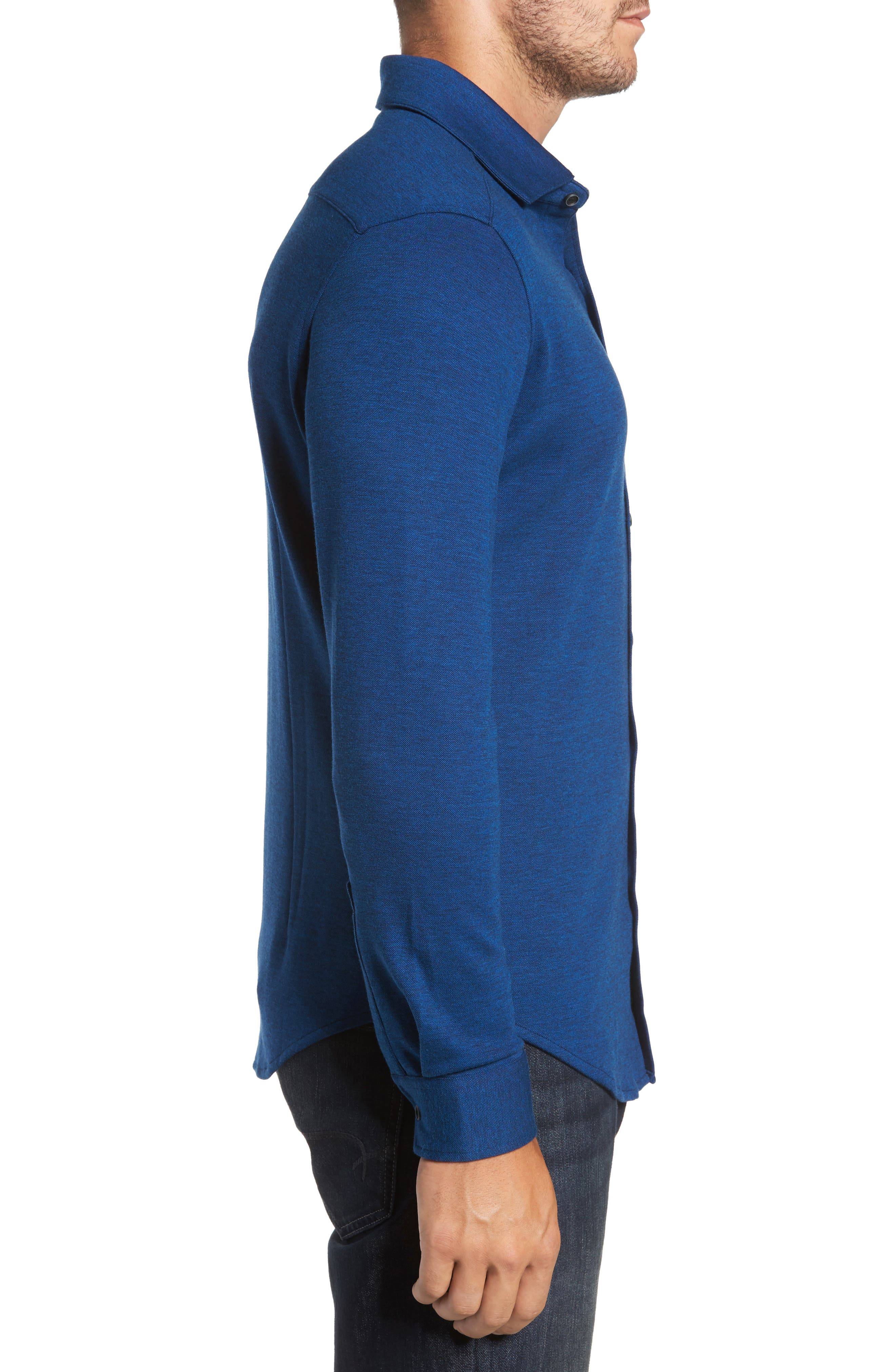 Classic Fit Heathered Knit Sport Shirt,                             Alternate thumbnail 3, color,                             Night Blue