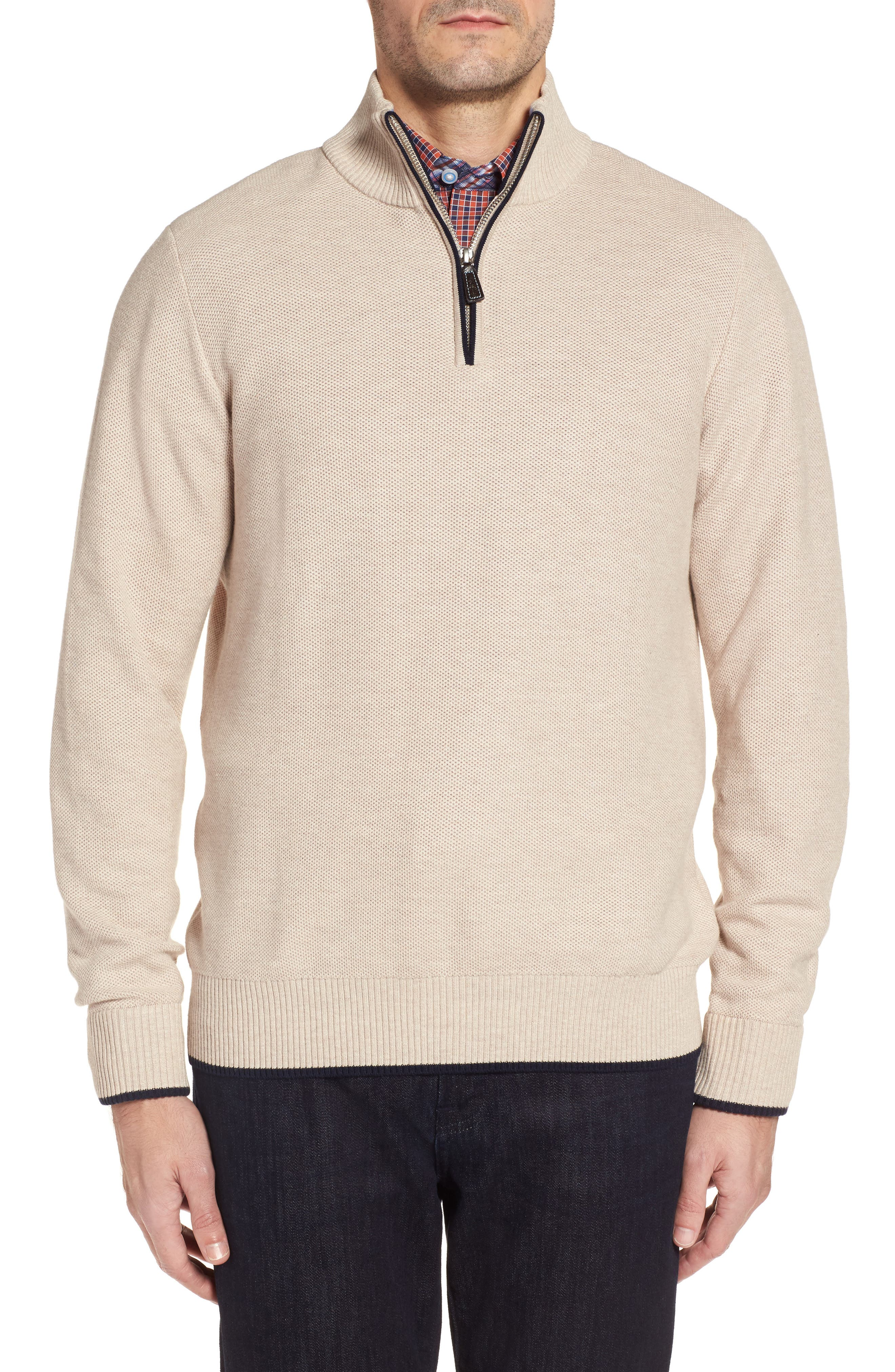 Sikes Tipped Quarter Zip Sweater,                             Main thumbnail 1, color,                             Oatmeal