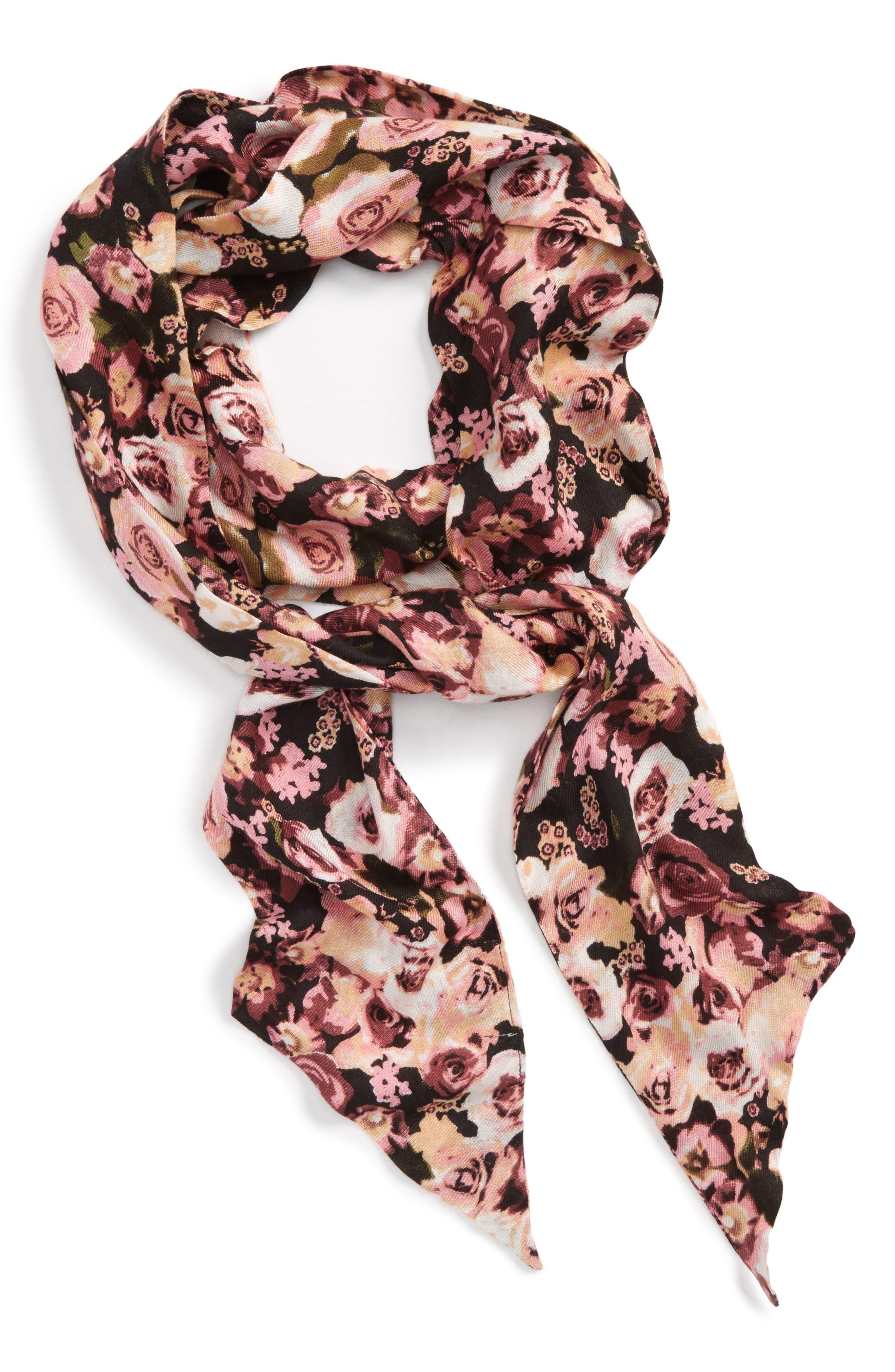 Floral Print Skinny Scarf,                         Main,                         color, Dark Multi