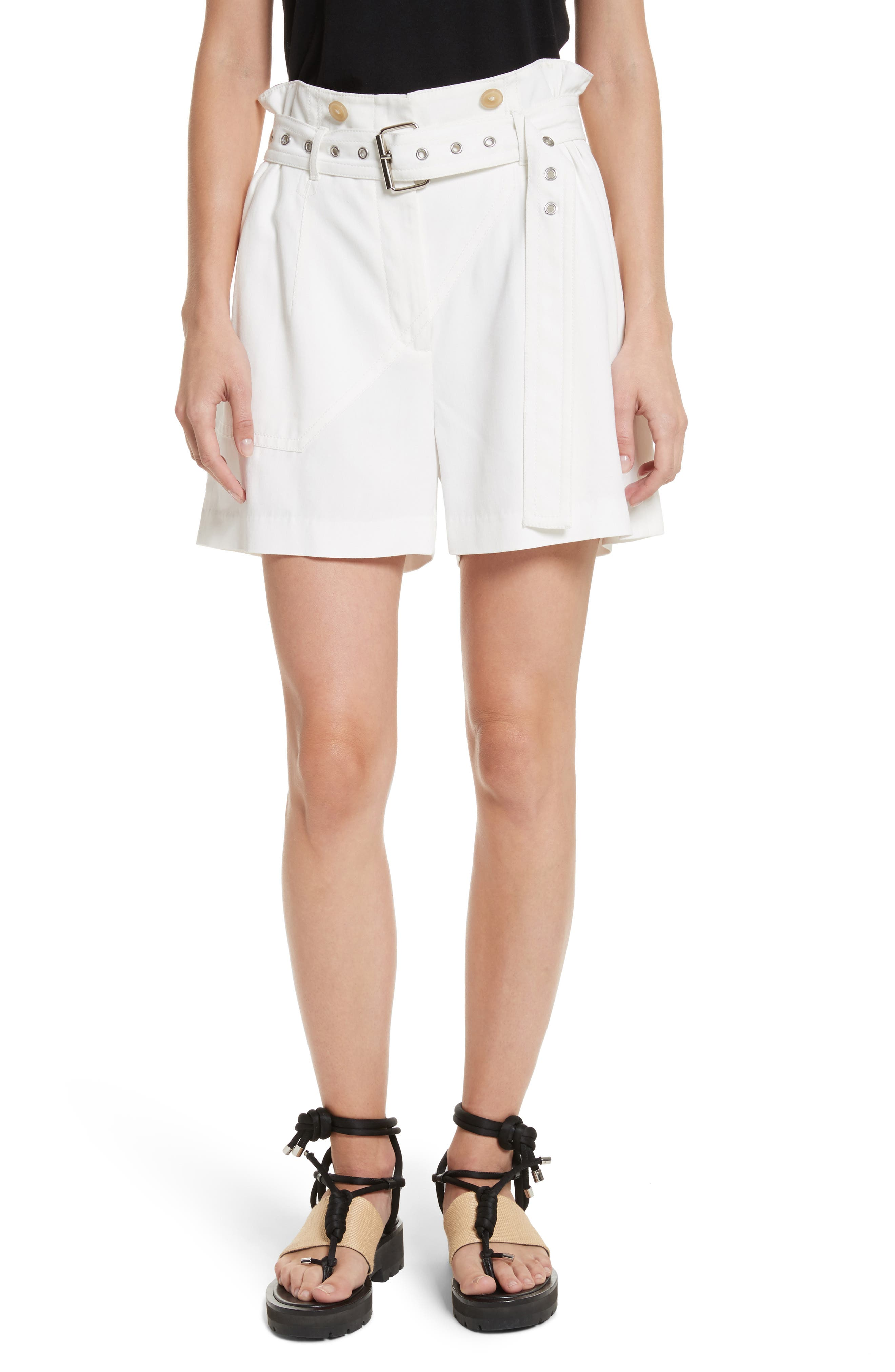 Belted Utility Shorts,                         Main,                         color, Ivory