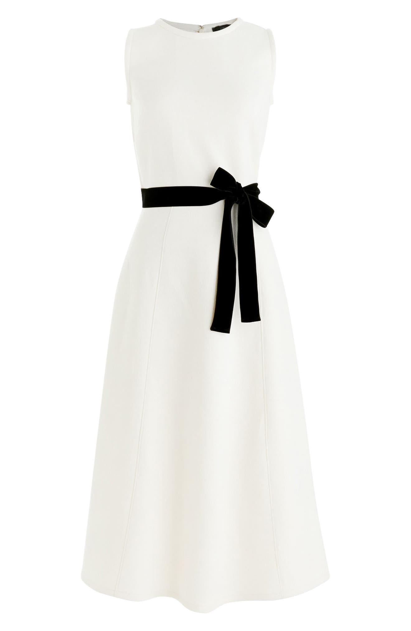 Velvet Tie A-Line Dress,                             Alternate thumbnail 2, color,                             Fresh Cream