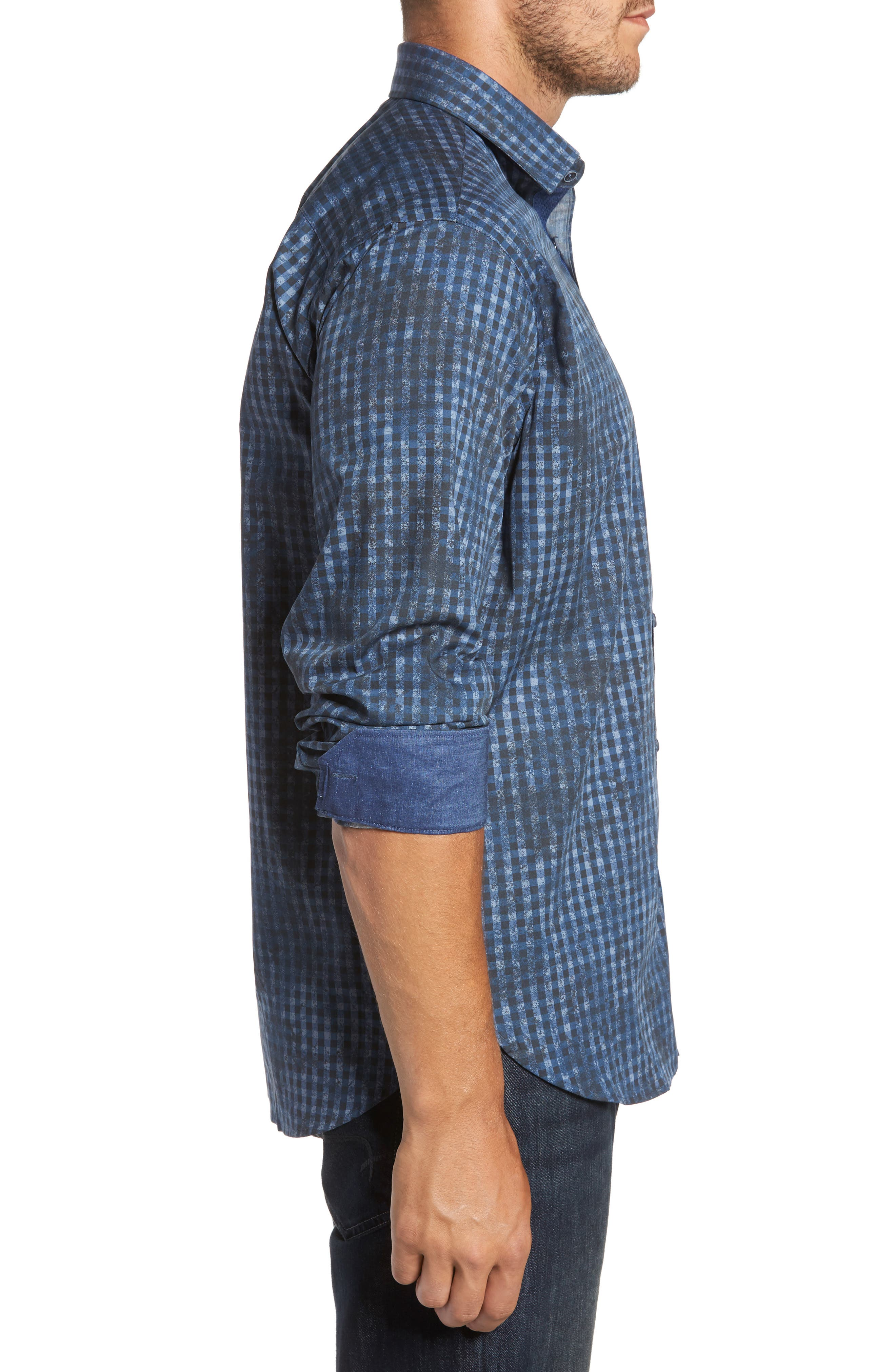 Classic Fit Mottled Check Sport Shirt,                             Alternate thumbnail 3, color,                             Indigo
