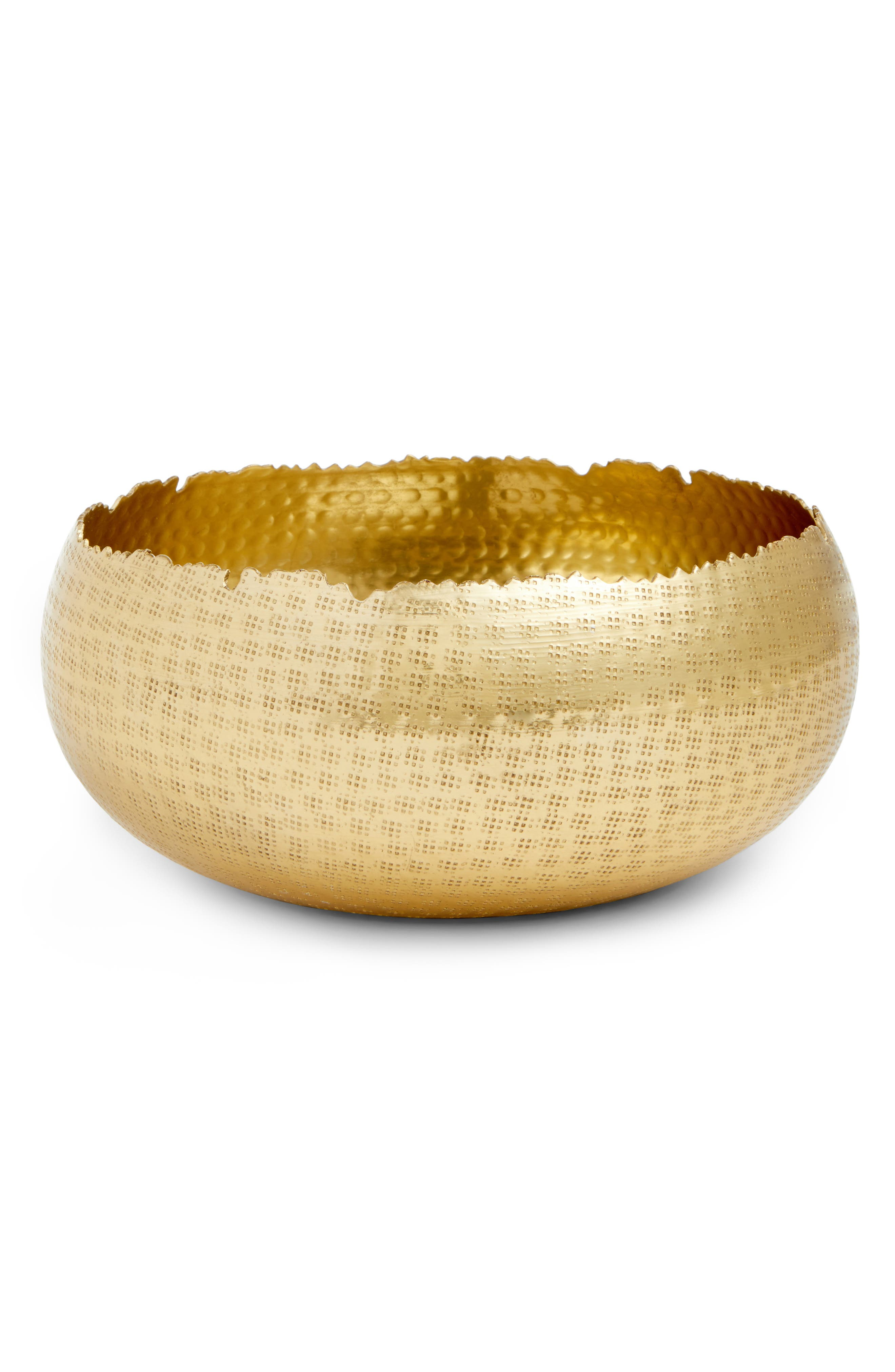 Large Hammered Bowl,                             Main thumbnail 1, color,                             Gold
