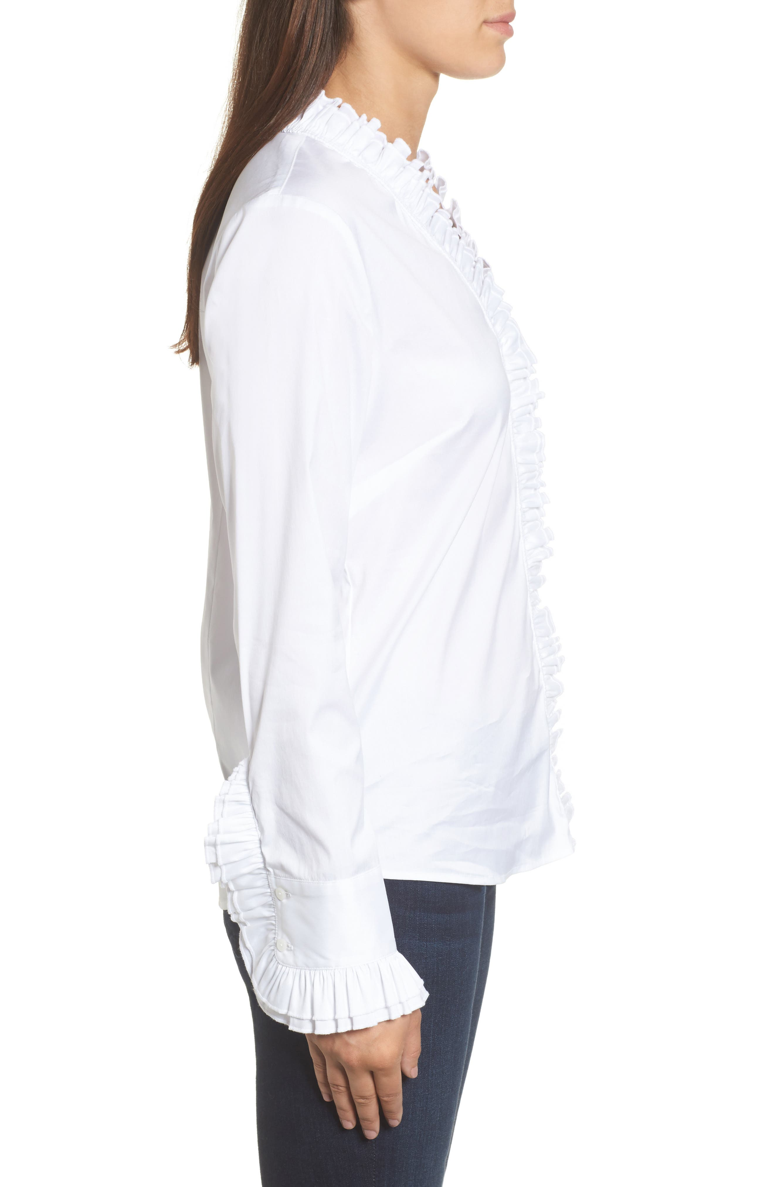 Alternate Image 3  - Halogen® Ruffle Front Blouse (Regular & Petite)