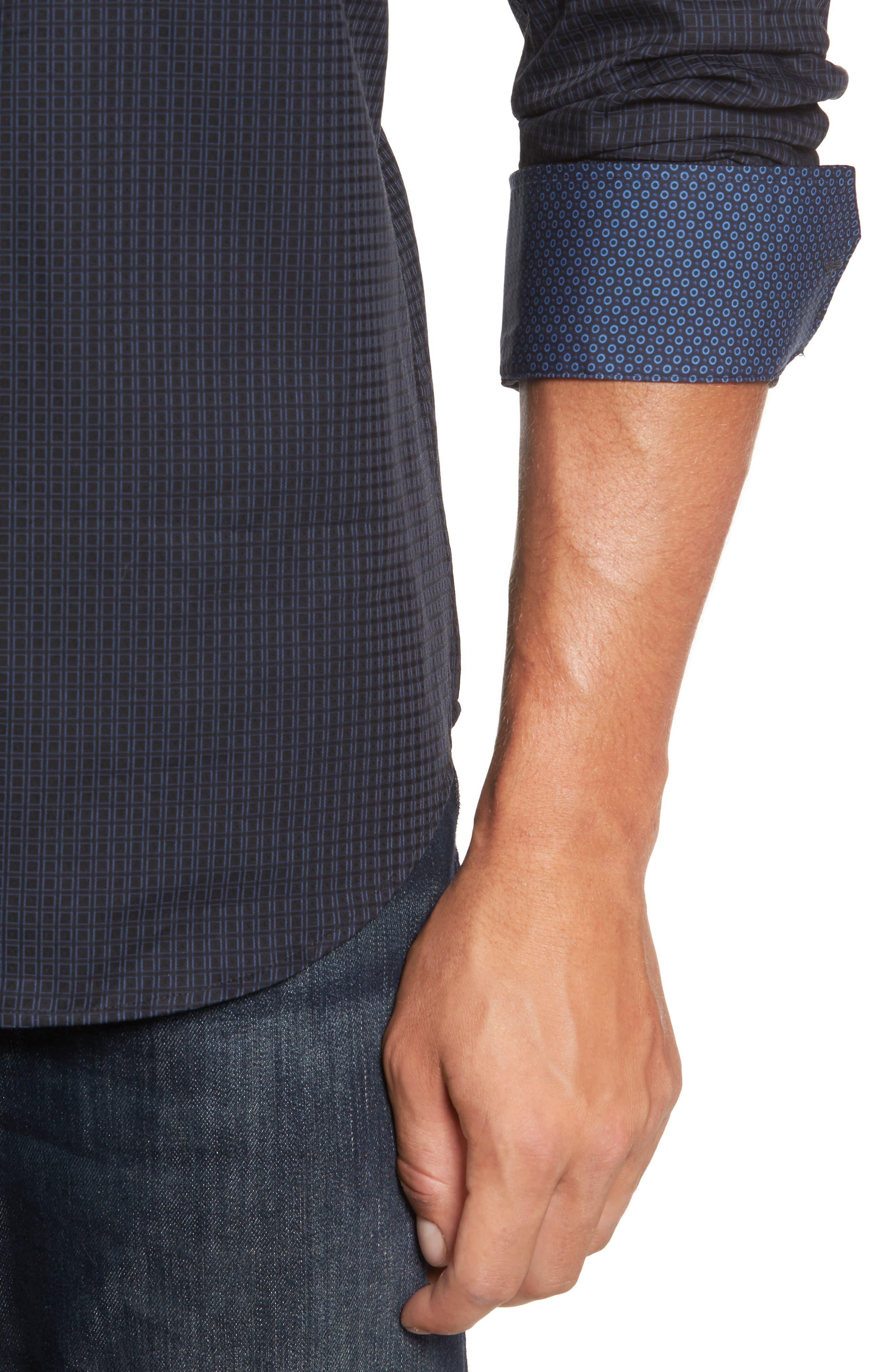 Trim Fit Box Print Sport Shirt,                             Alternate thumbnail 4, color,                             Black
