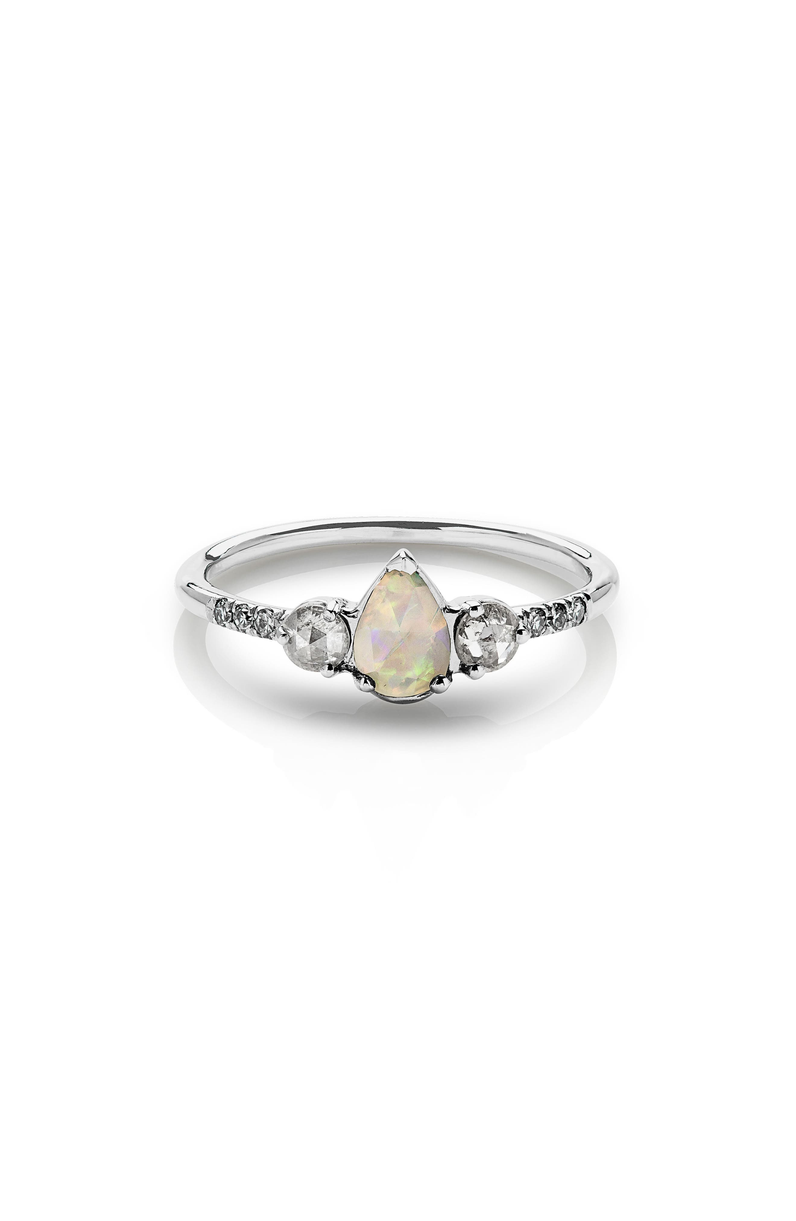 Radiance Opal & Diamond Ring,                         Main,                         color, White Gold