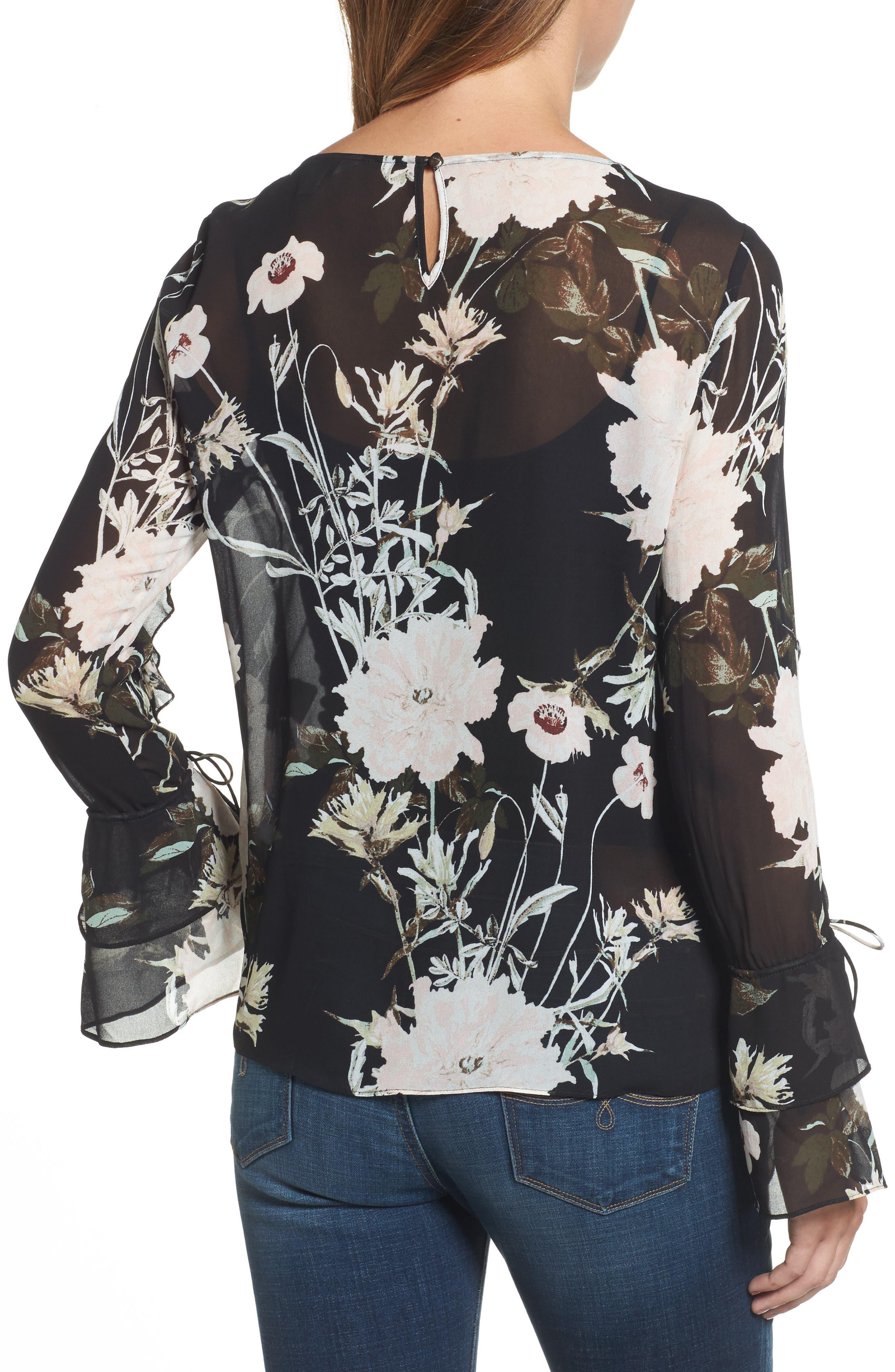 Floral Print Bell Sleeve Top,                             Alternate thumbnail 2, color,                             Black Multi