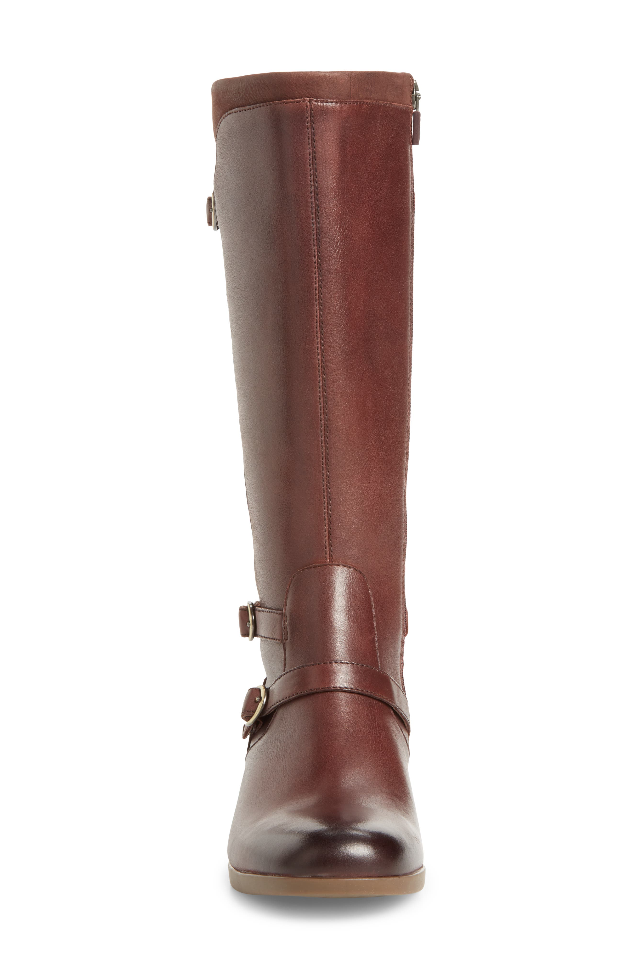 Lorna Tall Boot,                             Alternate thumbnail 4, color,                             Wine Burnished Nappa Leather