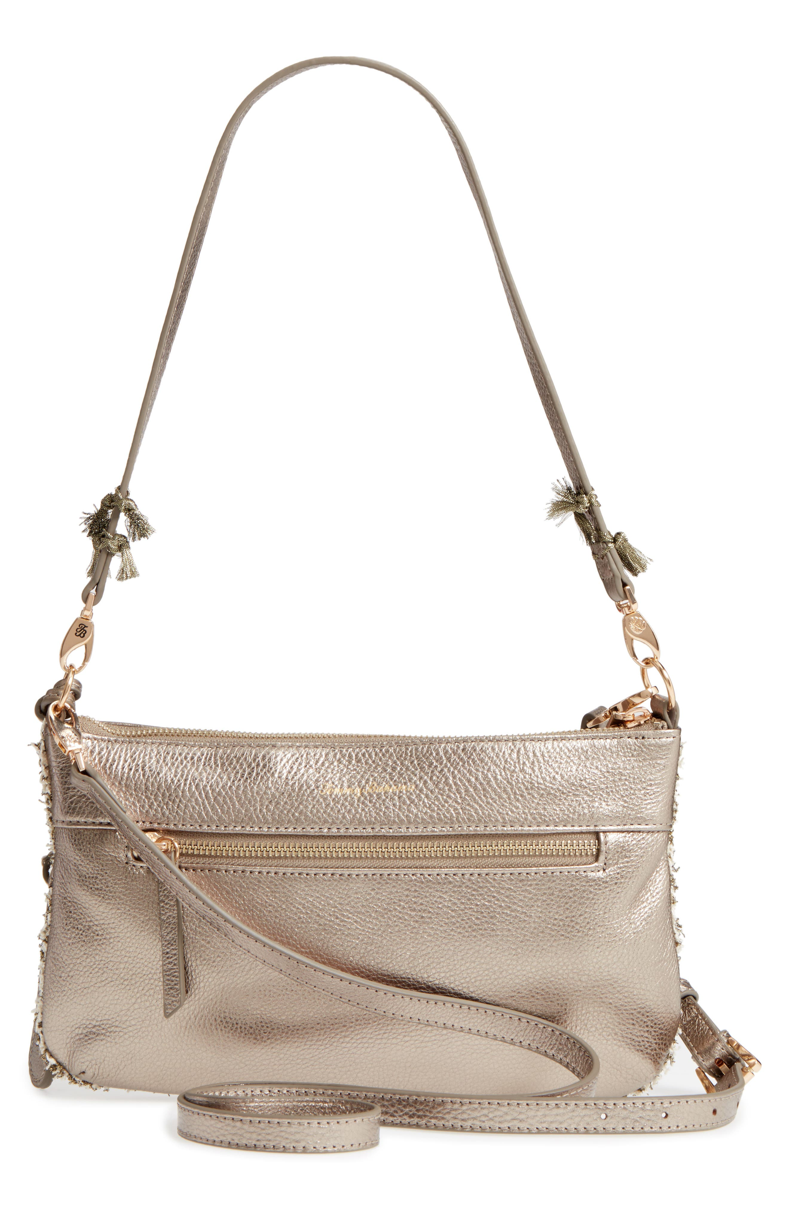 Can Can Convertible Leather Crossbody Bag,                             Alternate thumbnail 2, color,                             Pewter/ Bronze