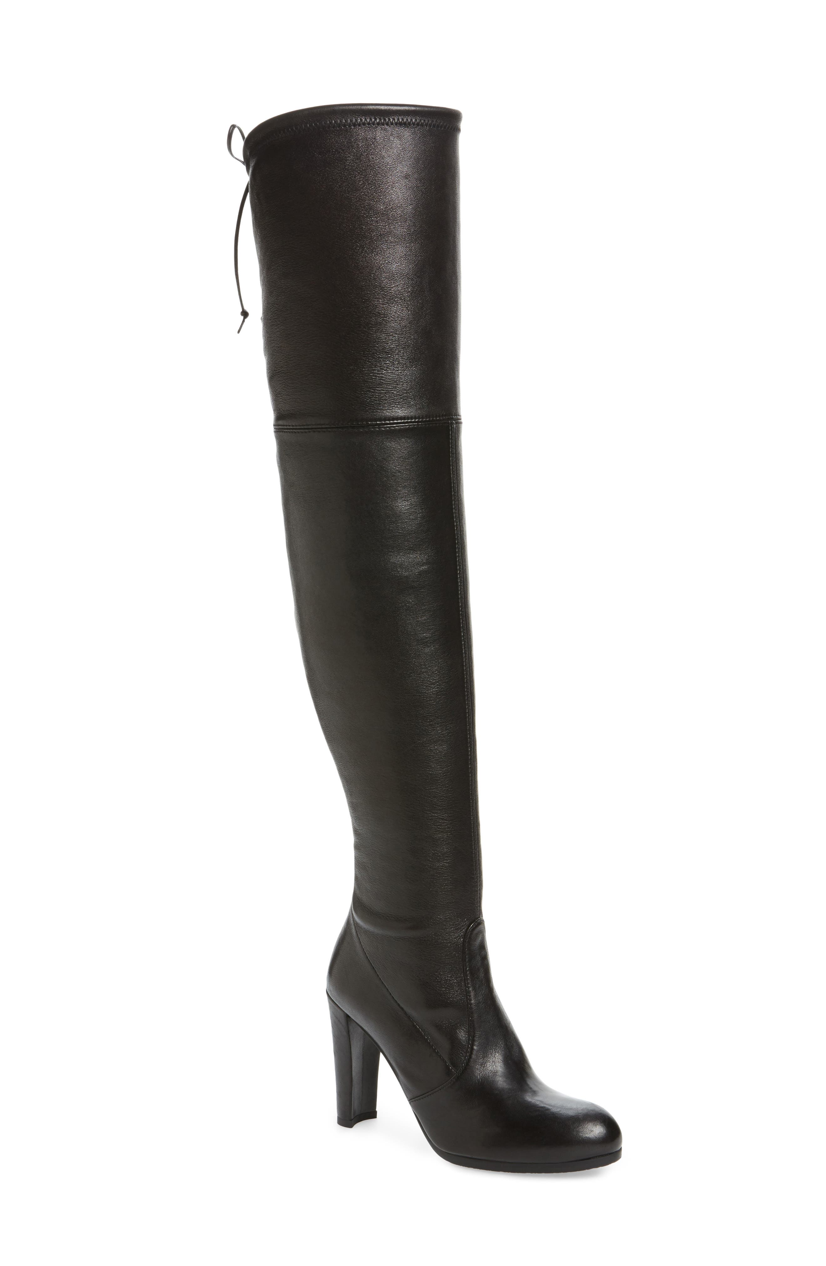 Hiline Over the Knee Boot,                         Main,                         color, Black Nappa