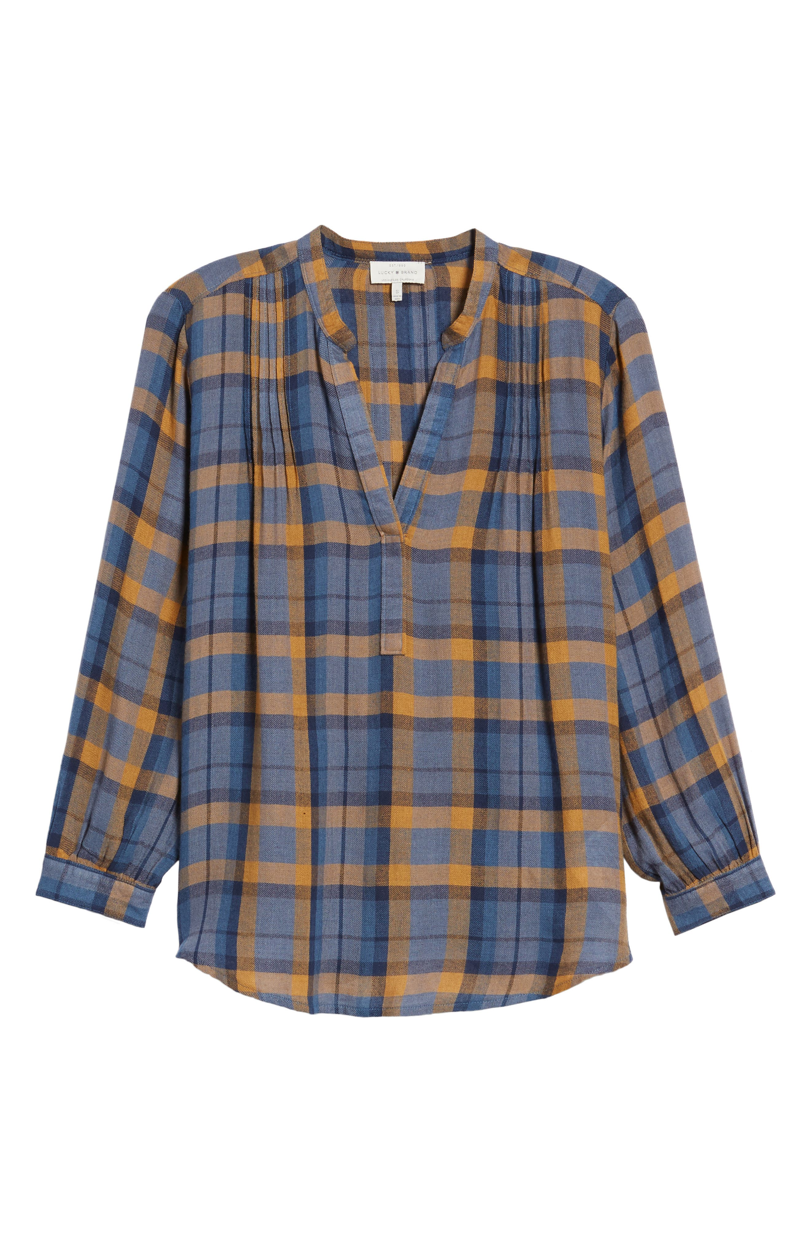 Plaid Top,                             Alternate thumbnail 6, color,                             Blue Multi