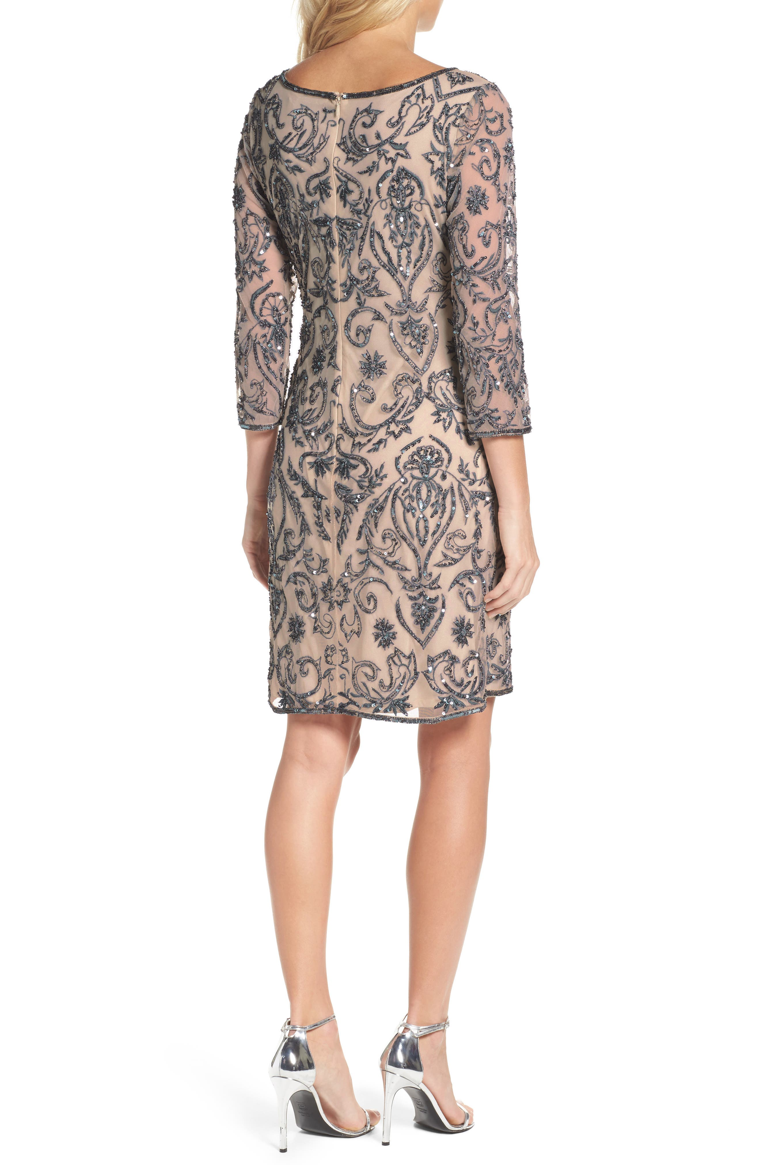 Alternate Image 2  - Pisarro Nights Sequin Embroidered Sheath Dress (Regular & Petite)