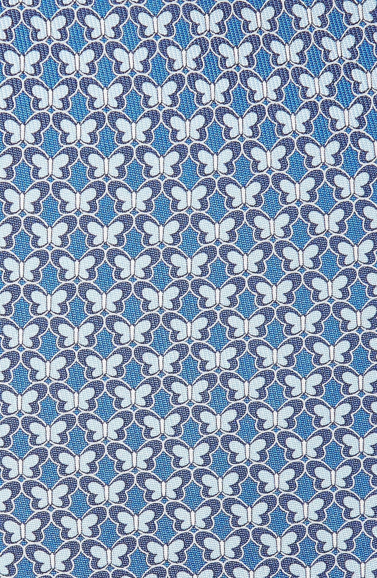 Butterfly Print Silk Tie,                             Alternate thumbnail 2, color,                             Marine Blue