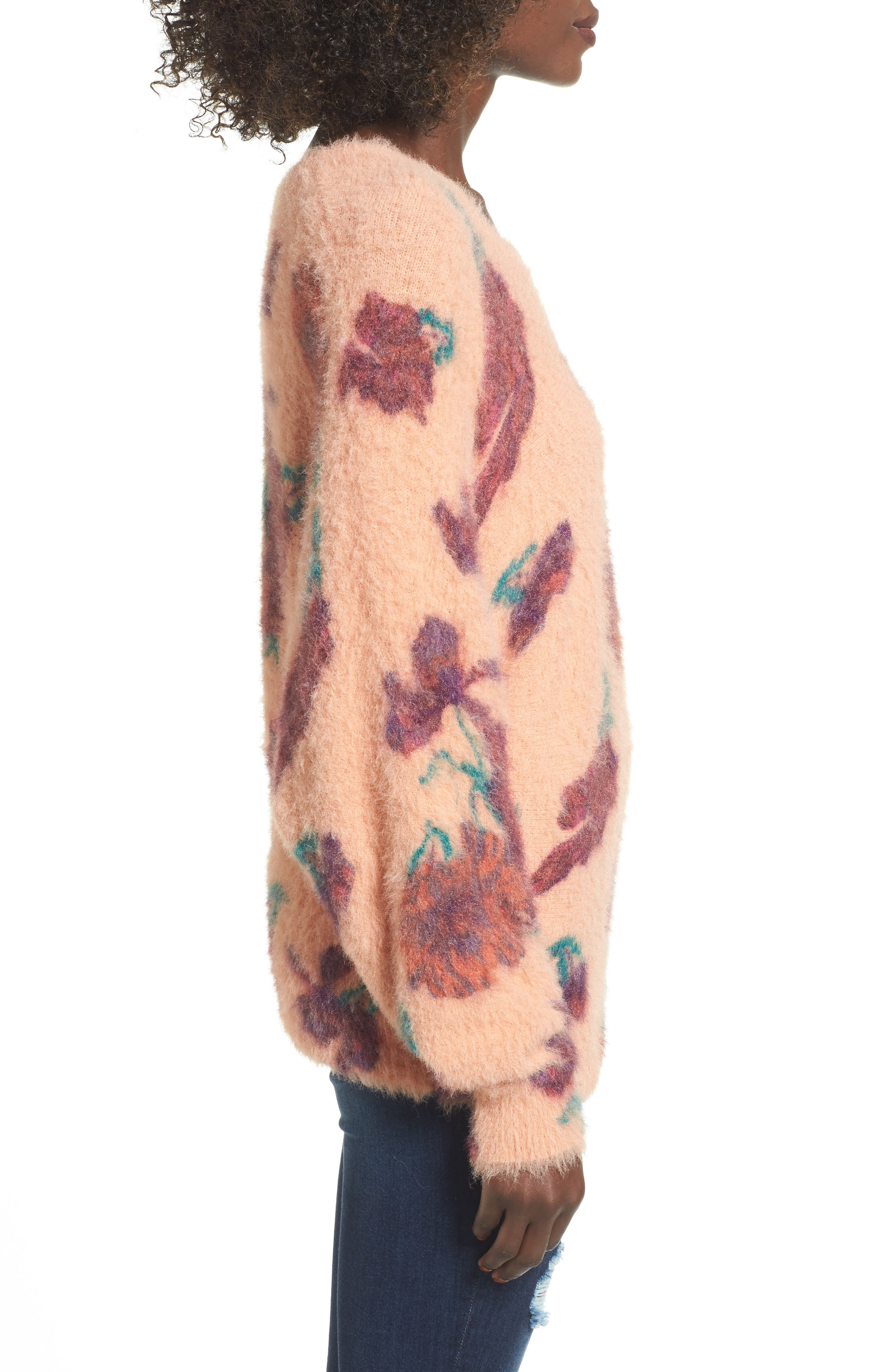 Fluffy Pullover,                             Alternate thumbnail 3, color,                             Coral Muted Expressive Floral
