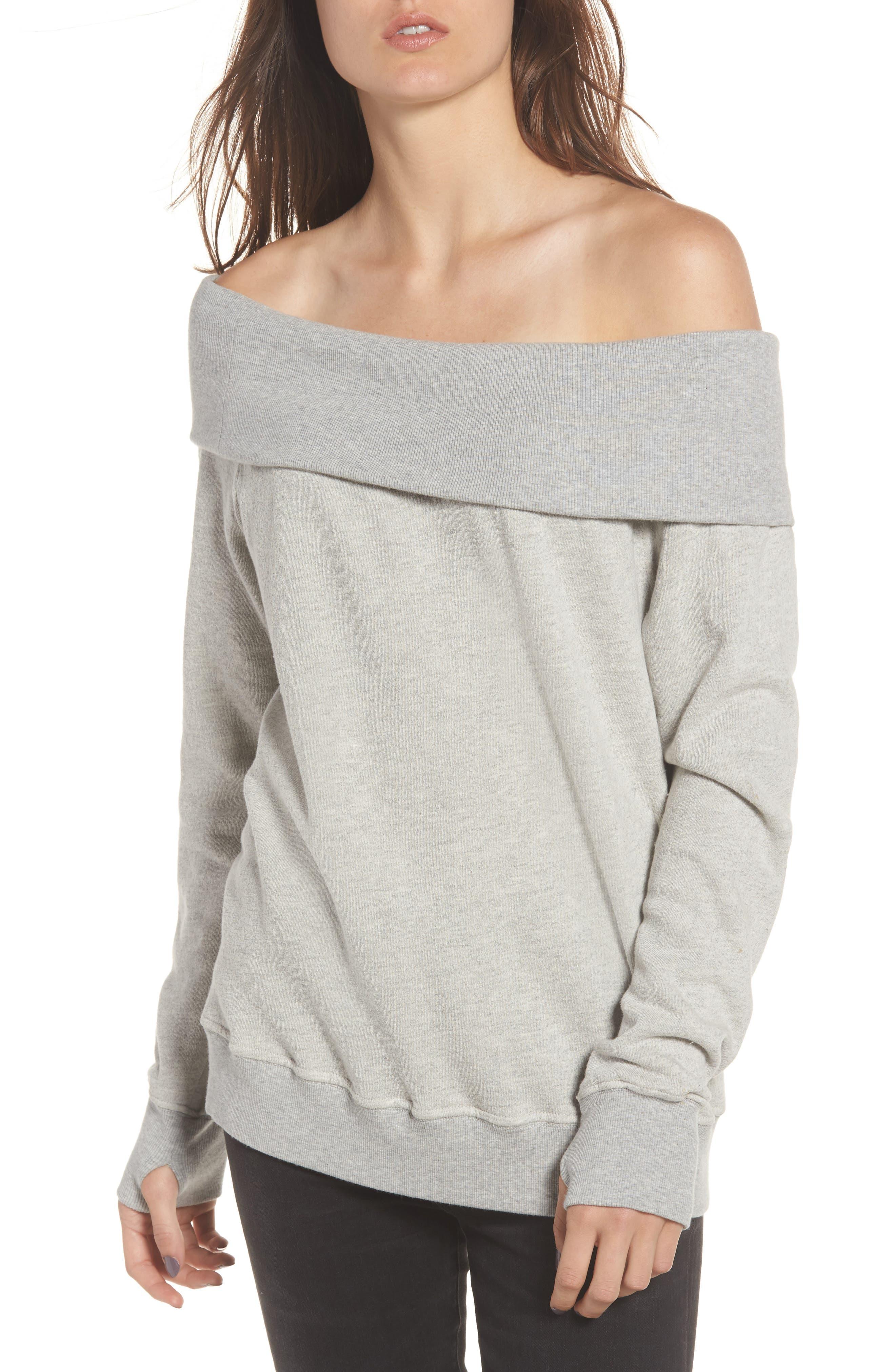 Off the Shoulder Sweatshirt,                         Main,                         color, Heather Grey