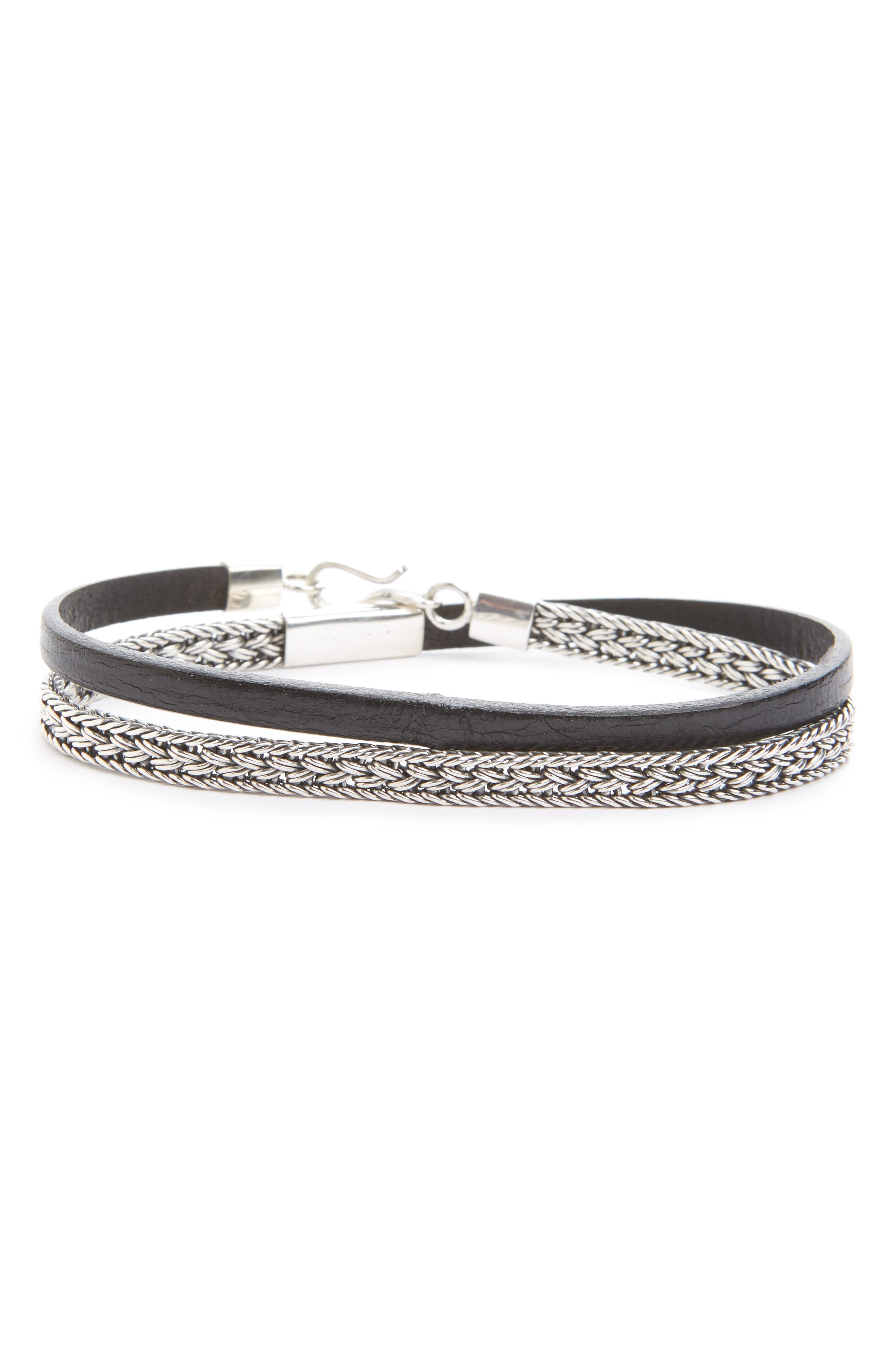 Caputo & Co. Sterling Silver & Leather Wrap Bracelet