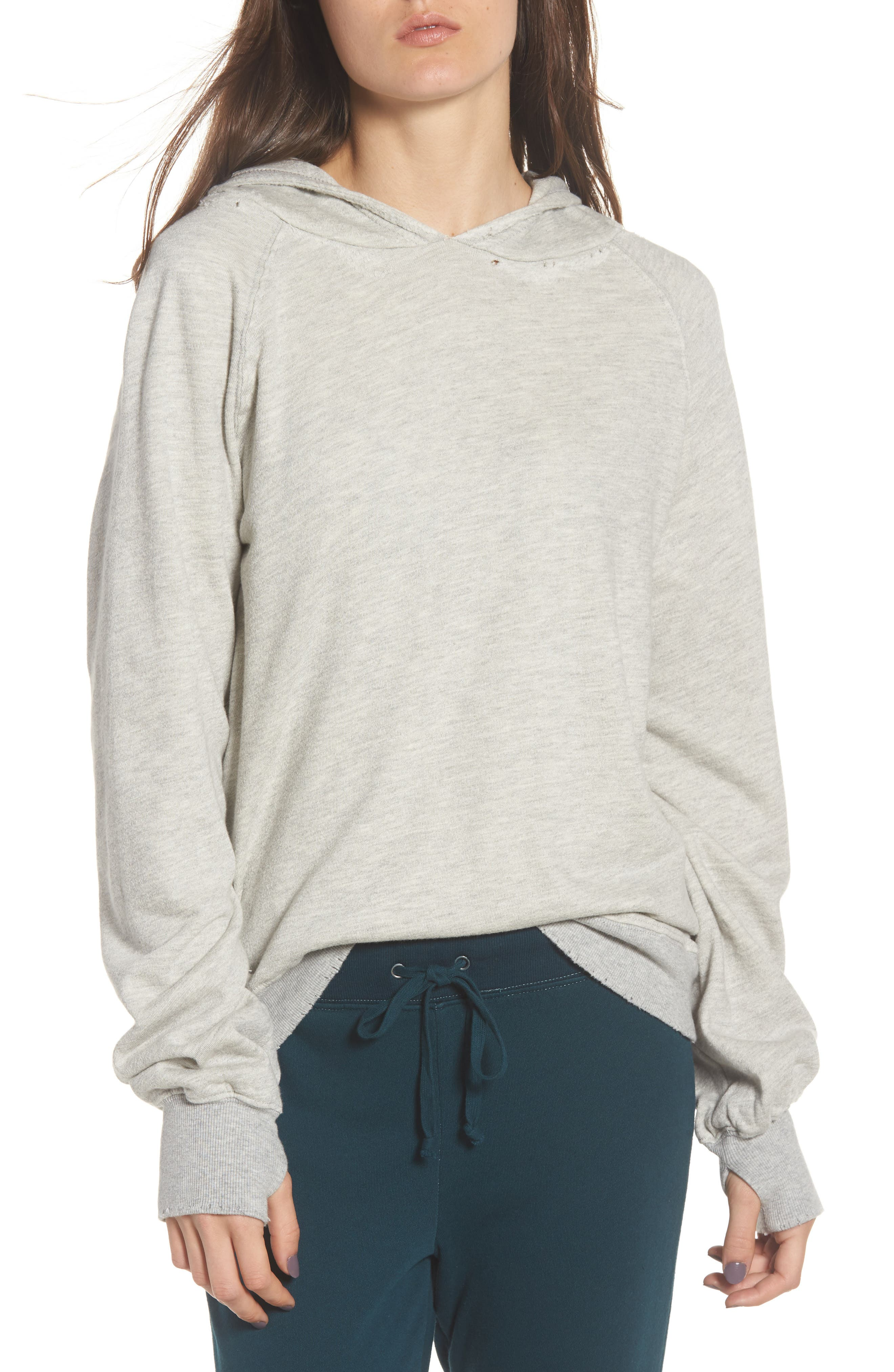 Distressed Hoodie,                             Main thumbnail 1, color,                             Heather Grey