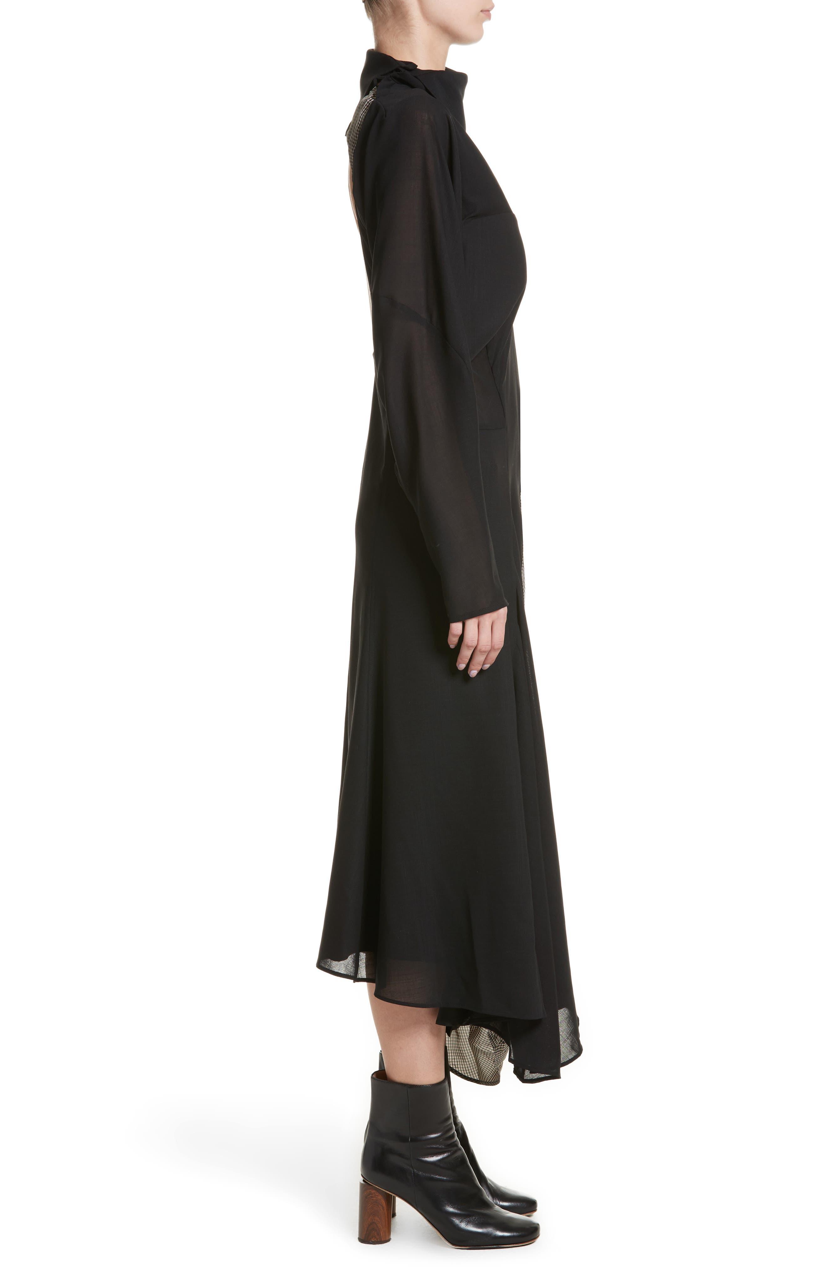 Dragica Mixed Media Dress,                             Alternate thumbnail 3, color,                             Black