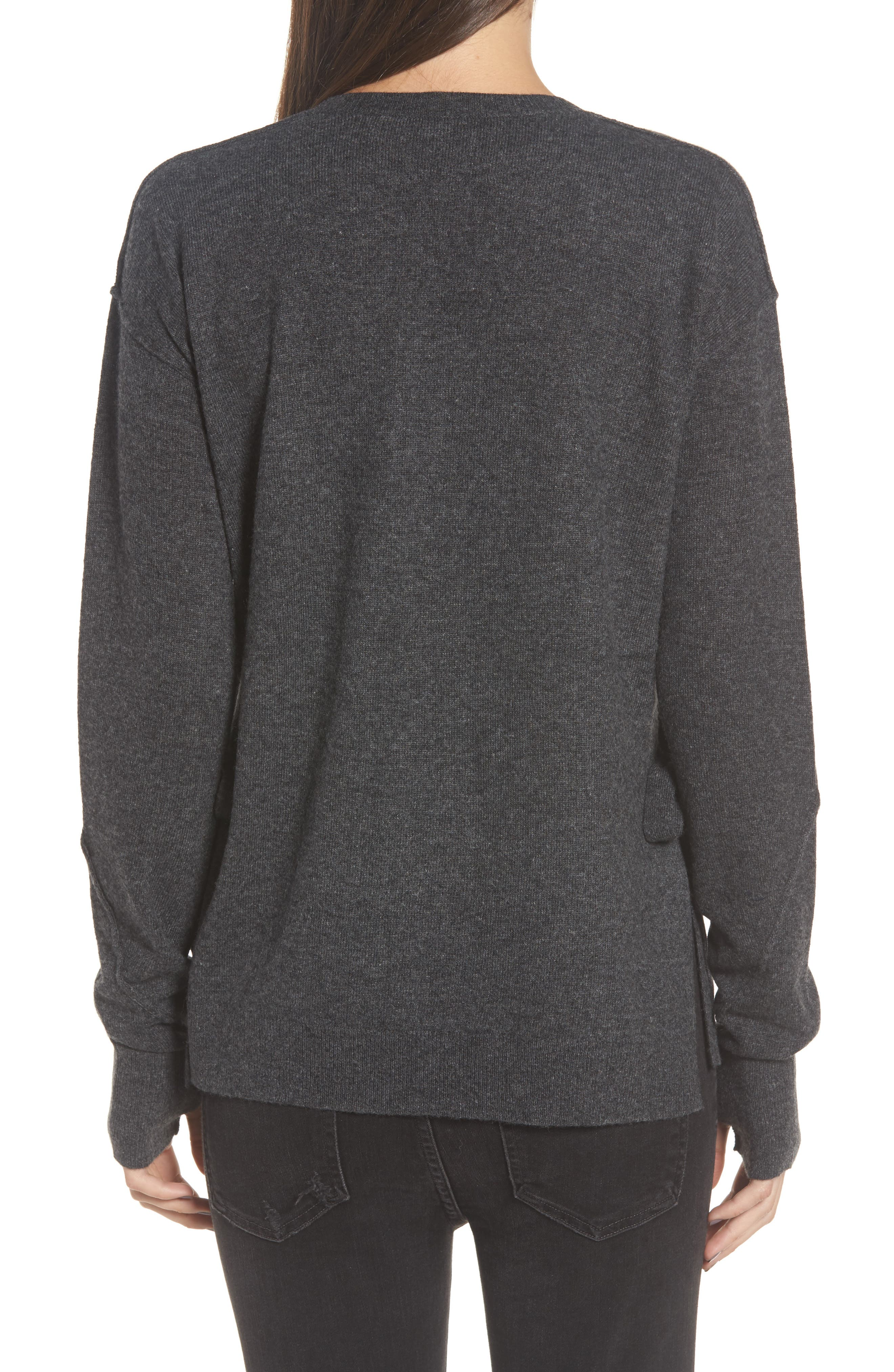Dream Side Tie Sweater,                             Alternate thumbnail 2, color,                             Heather Grey