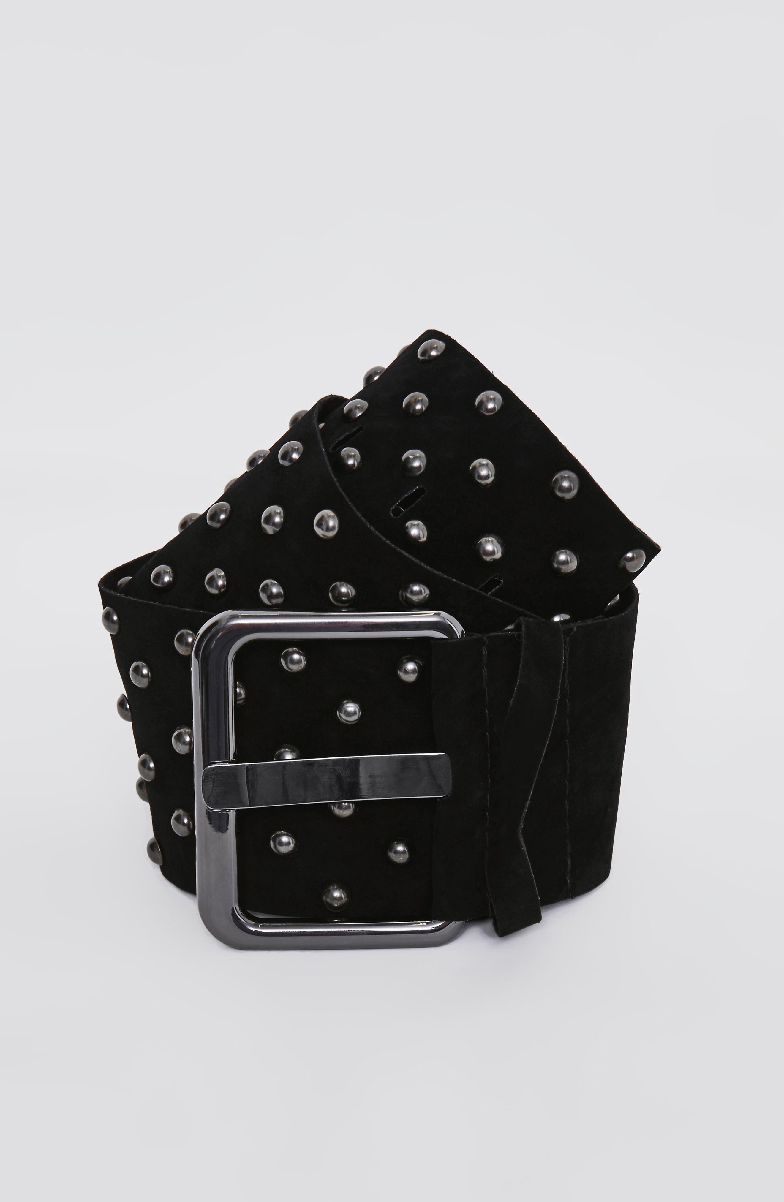 Studded Faux Suede Belt,                             Alternate thumbnail 2, color,                             Black